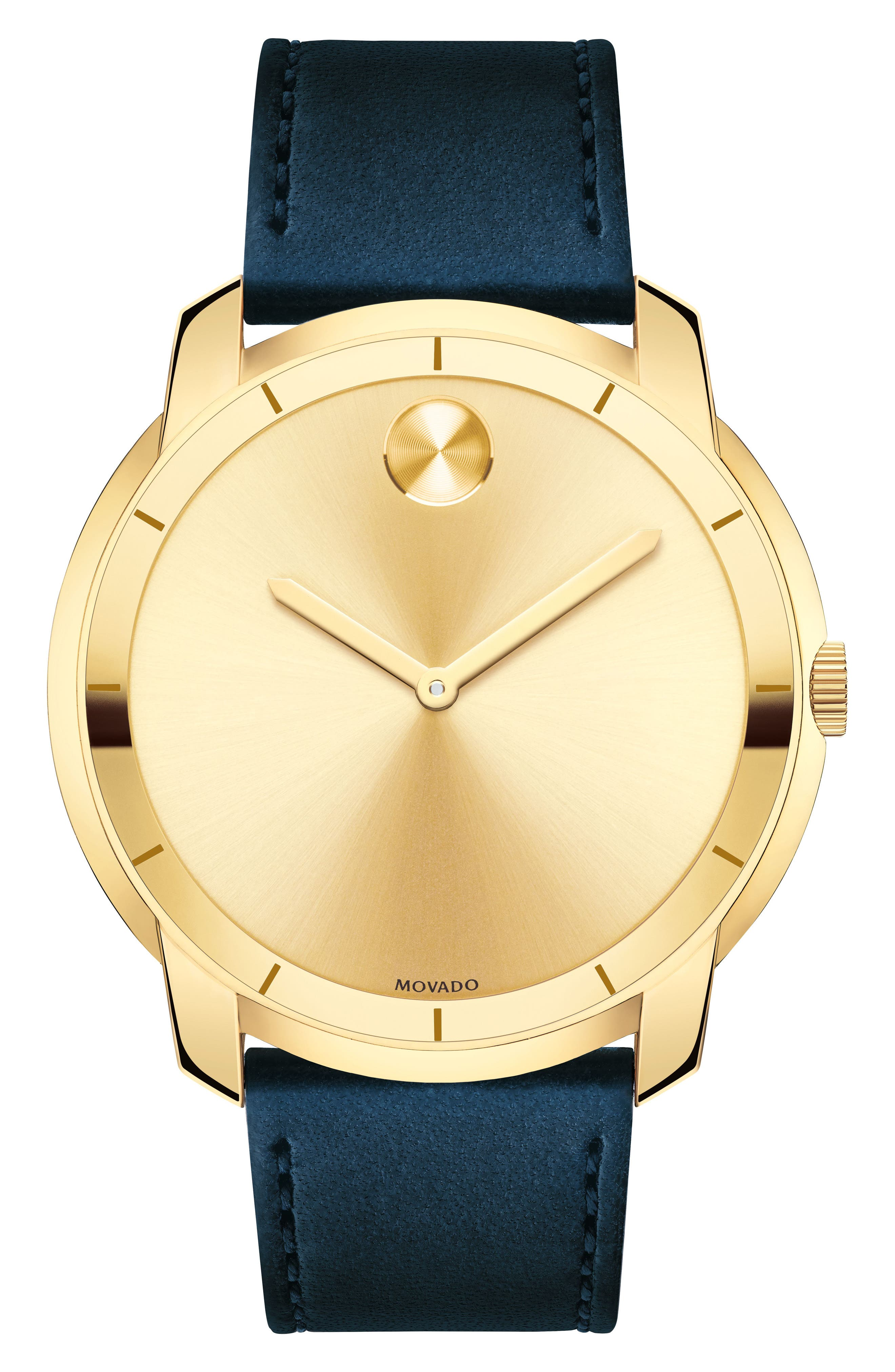 Bold Thin Leather Strap Watch, 44mm,                         Main,                         color, Navy/ Gold