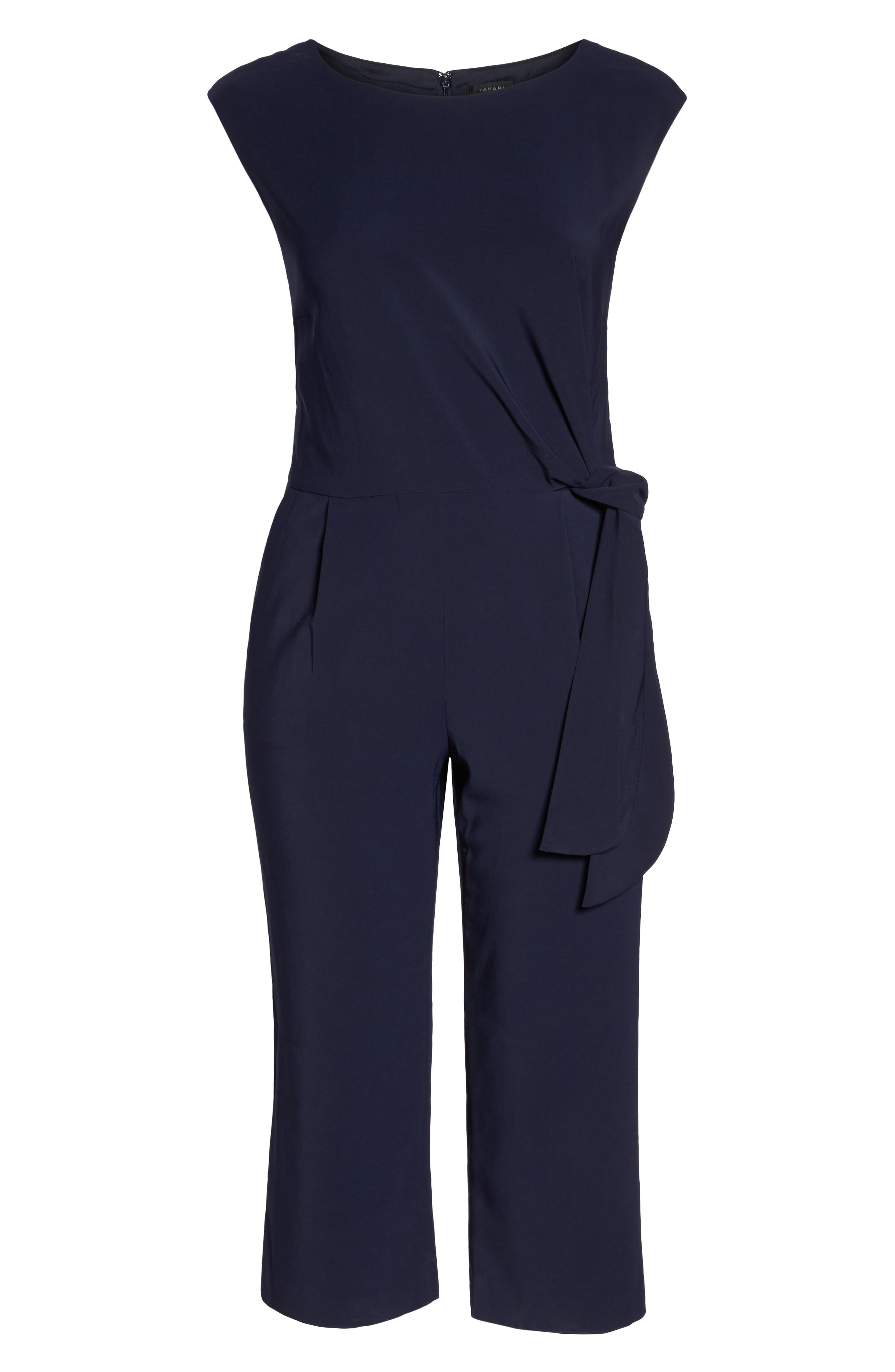 Alternate Image 6  - Tahari Wide Leg Crop Jumpsuit (Plus Size)