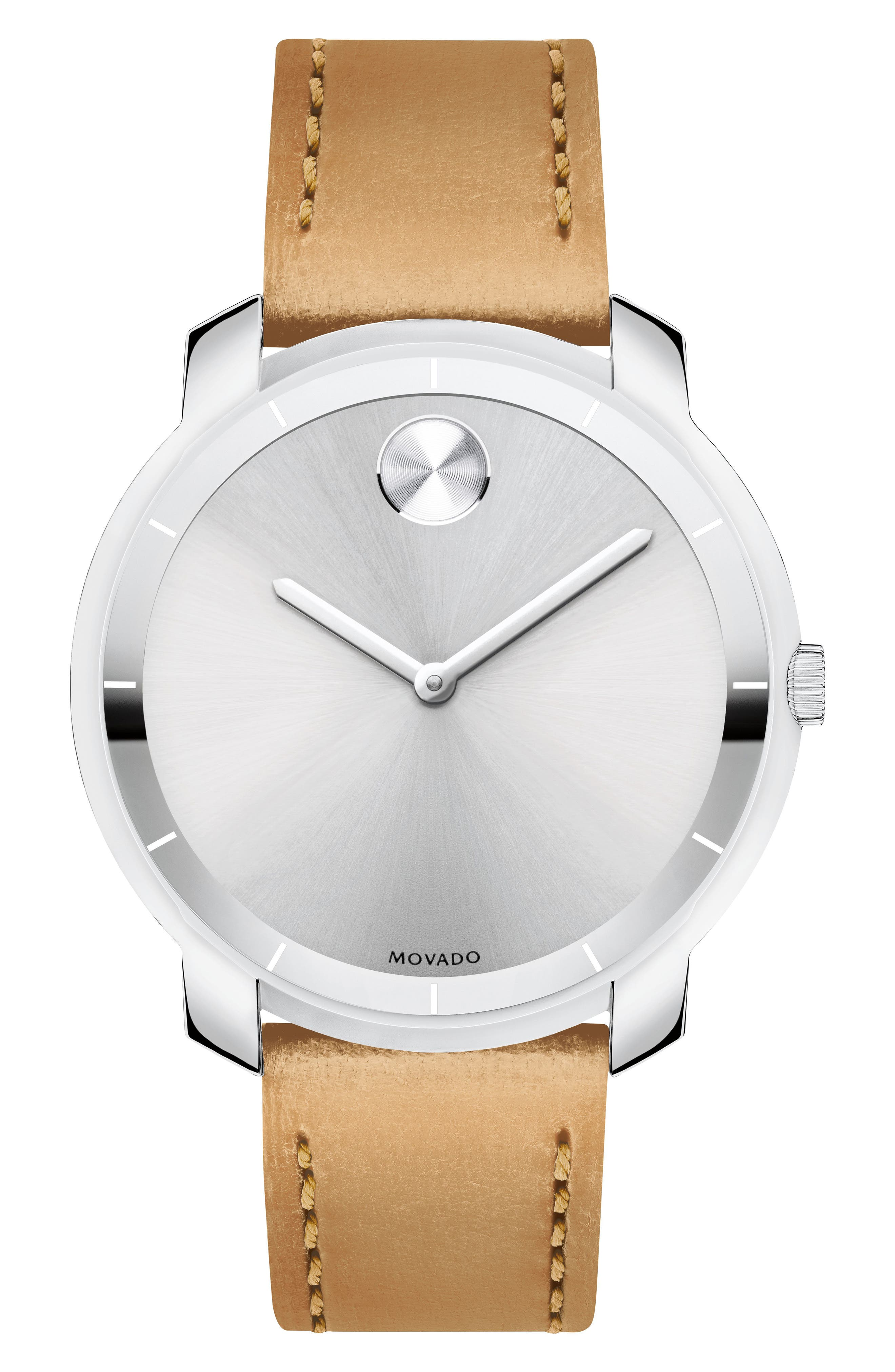 Bold Thin Leather Strap Watch, 36mm,                             Main thumbnail 1, color,                             Vachetta/ Silver