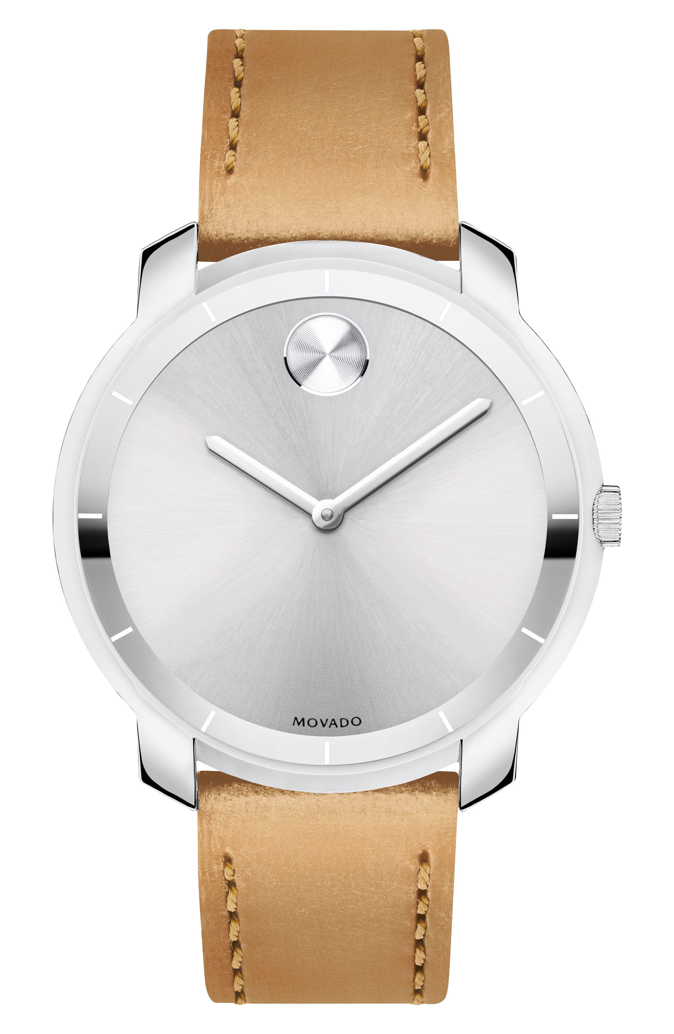 Bold Thin Leather Strap Watch, 36mm,                         Main,                         color, Vachetta/ Silver