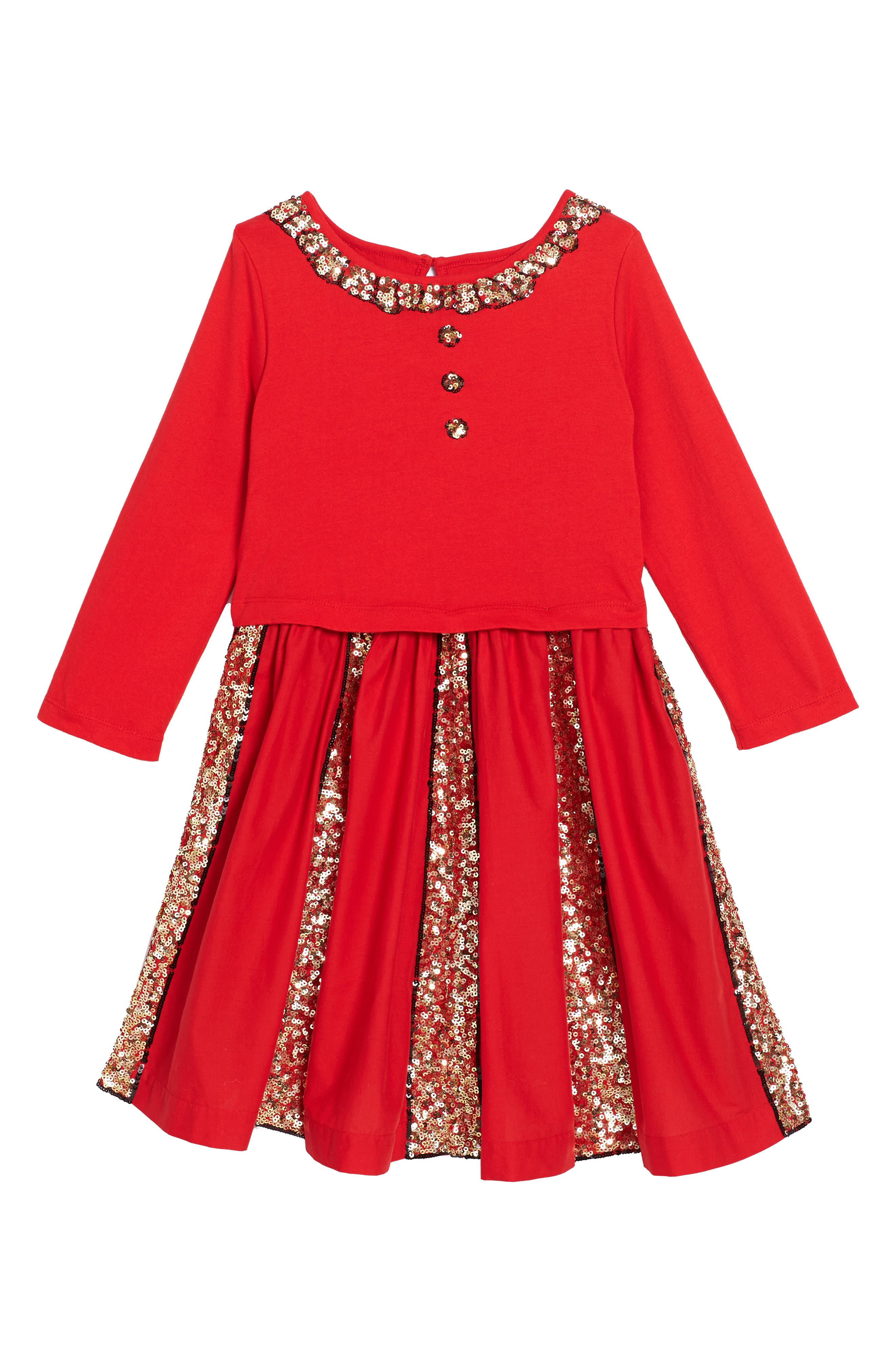 Sequin Skater Dress,                             Main thumbnail 1, color,                             Ladybird Red Red