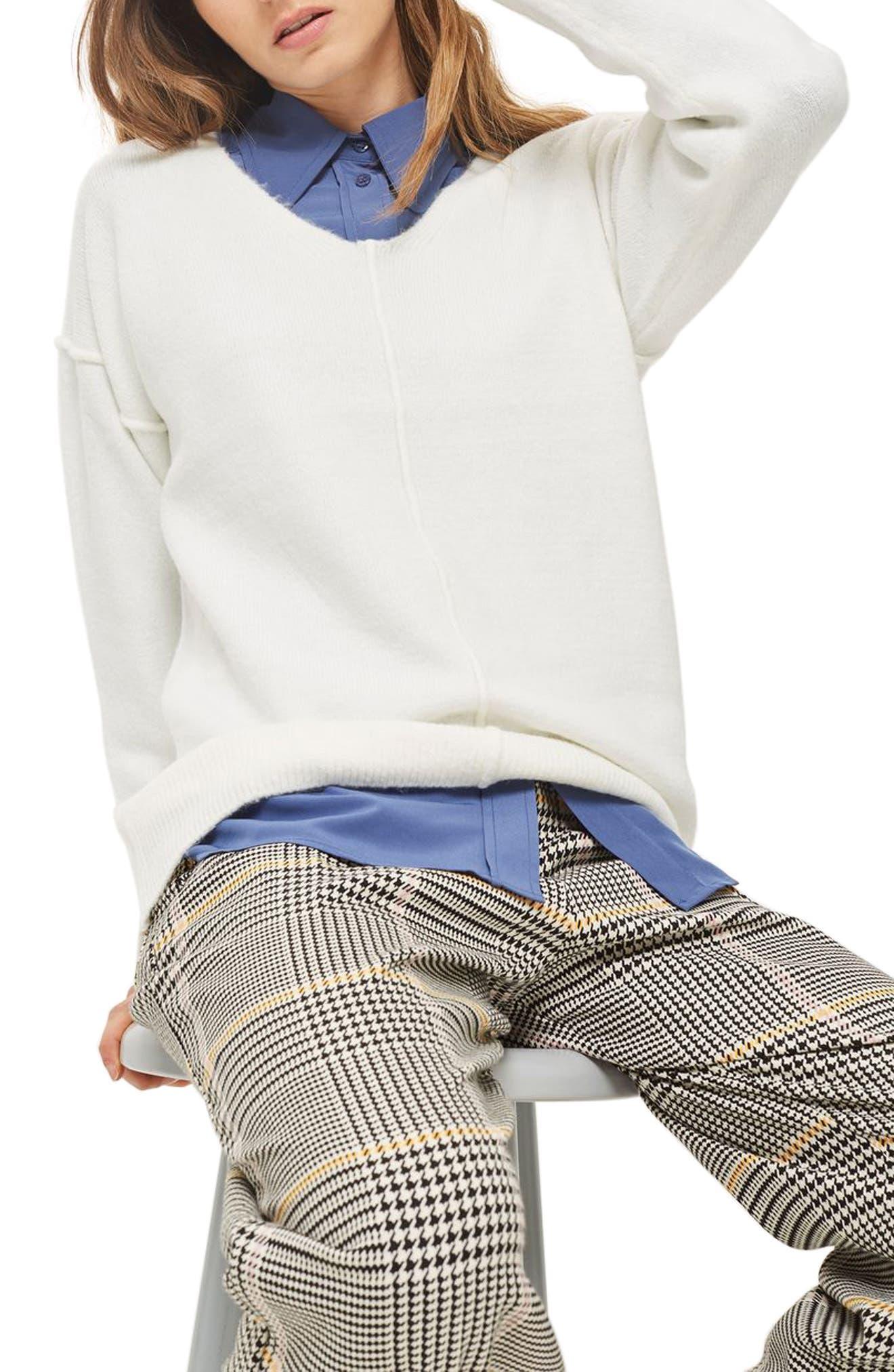 Topshop Exposed Seam Longline Sweater (Petite)