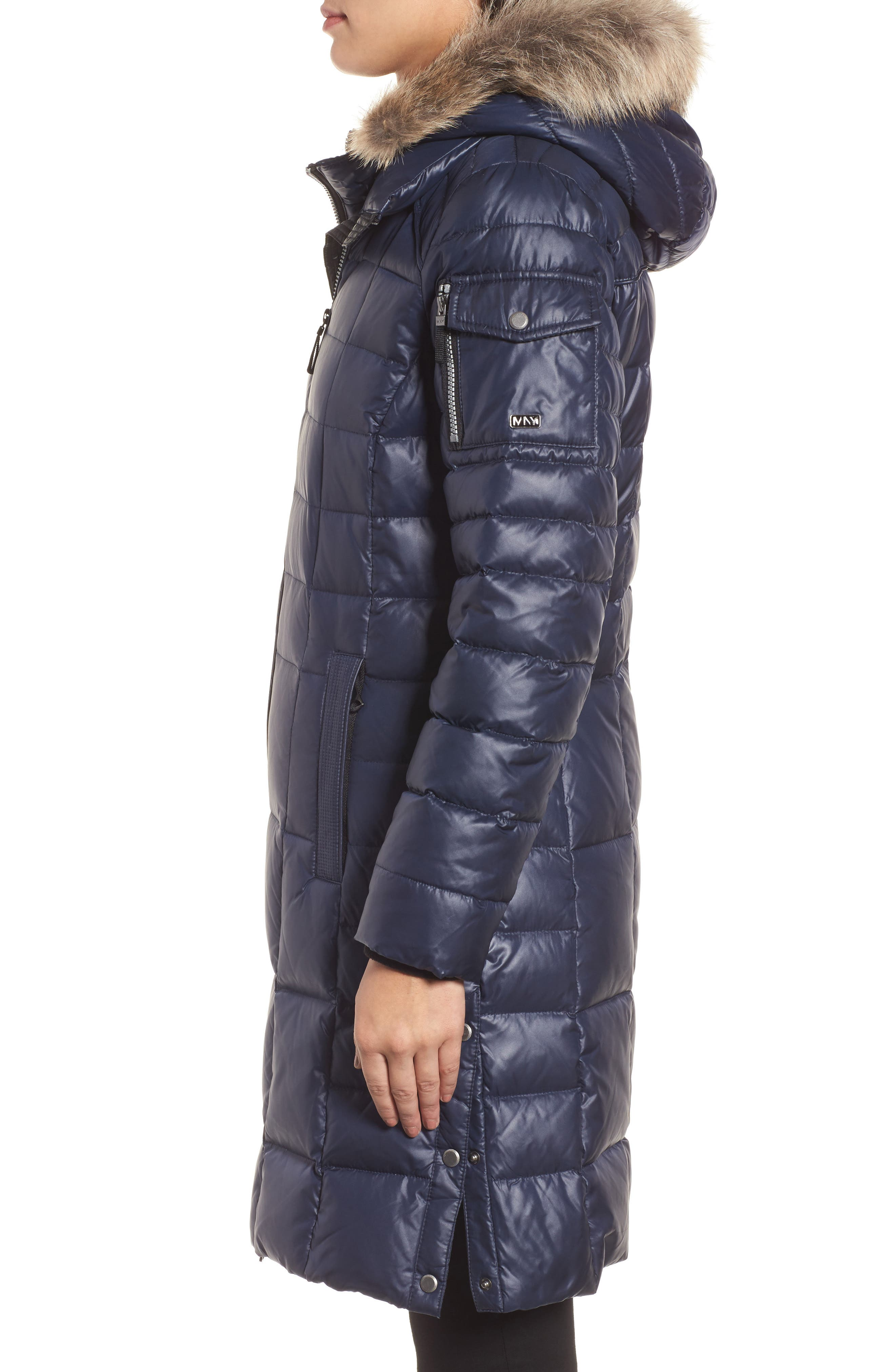 Quilted Coat with Genuine Coyote Fur,                             Alternate thumbnail 3, color,                             Navy