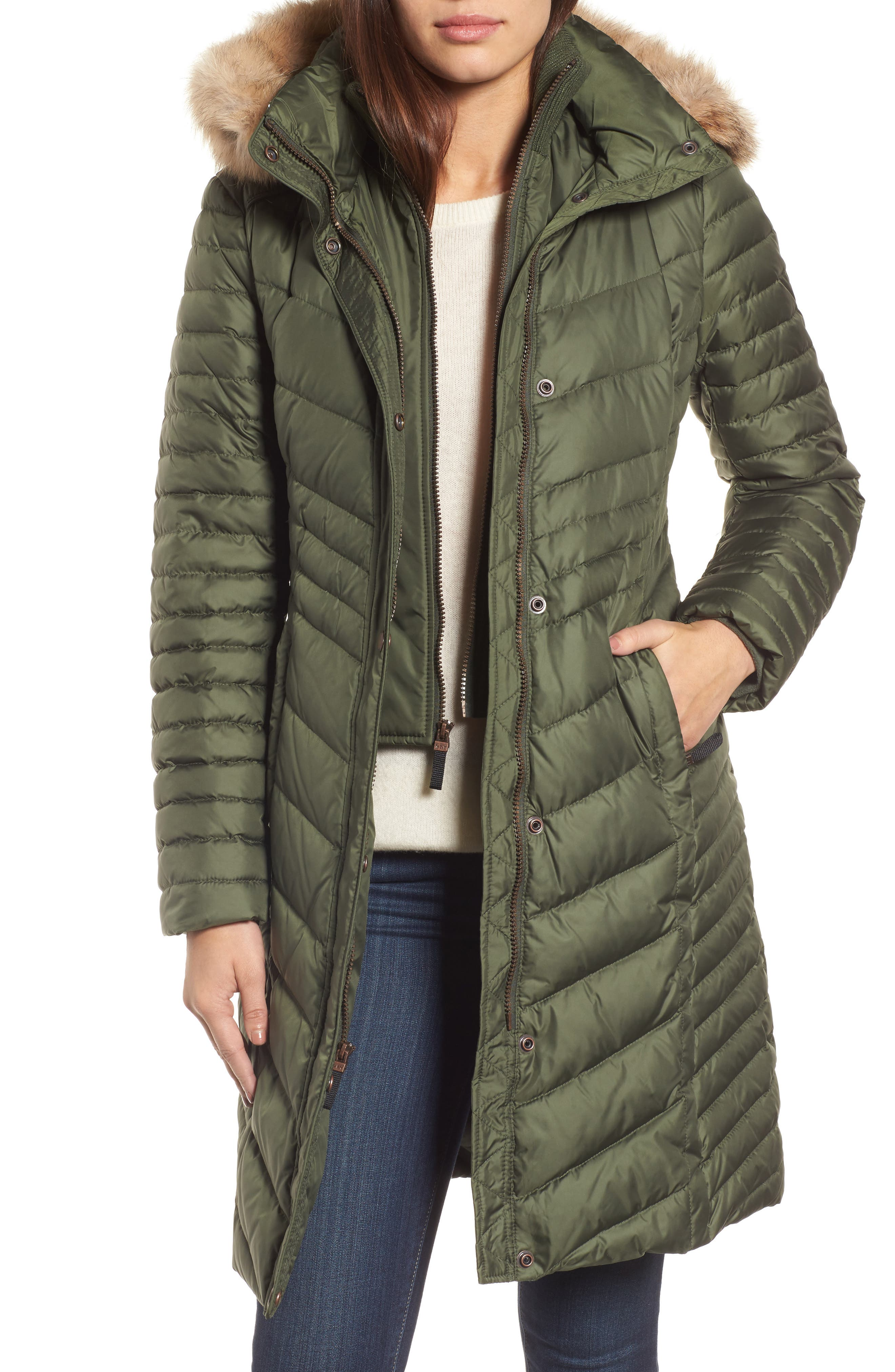 Chevron Quilted Coat with Genuine Coyote Fur Trim,                         Main,                         color, Olive