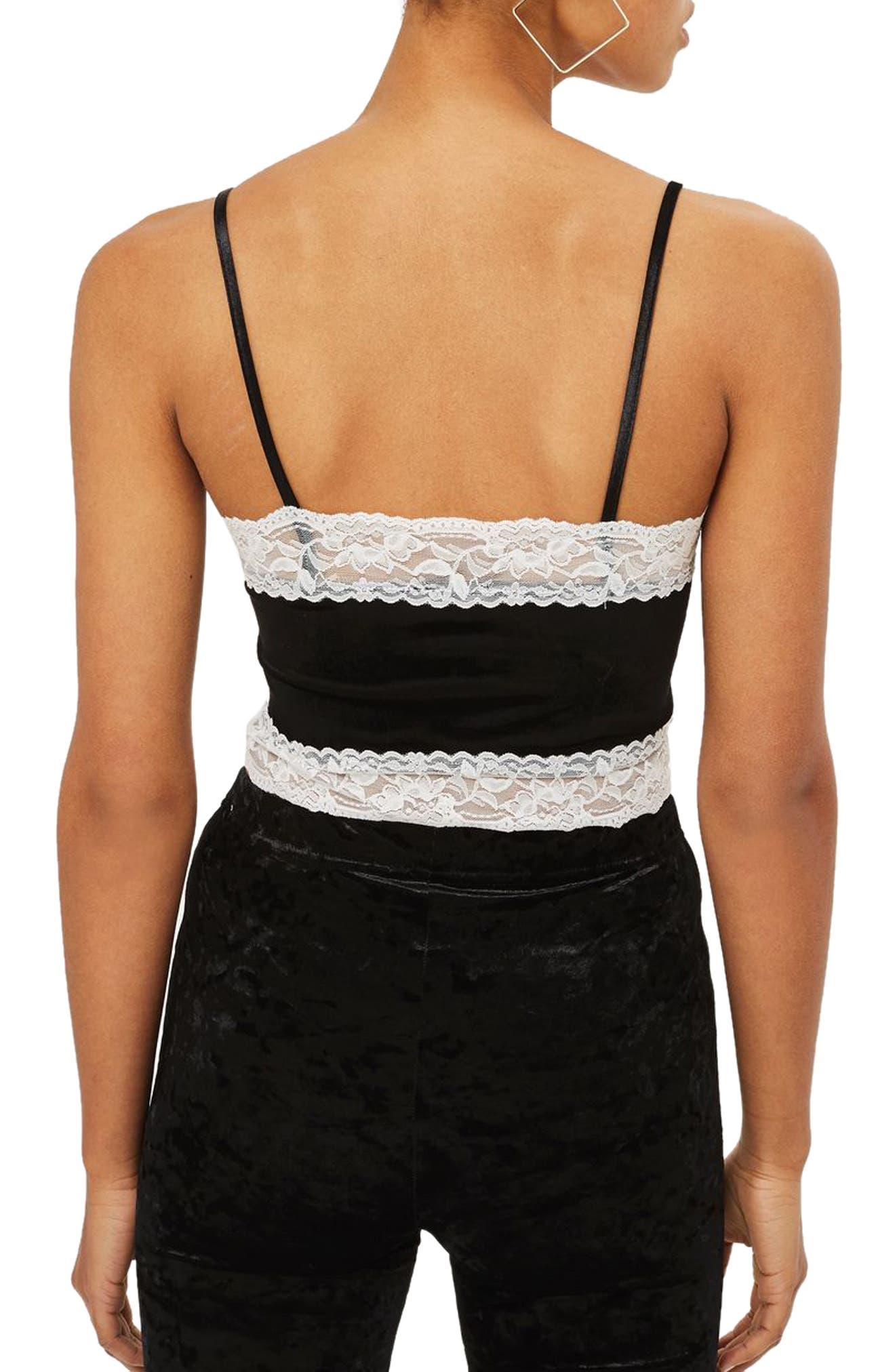 Lace Trim Velvet Camisole,                             Alternate thumbnail 3, color,                             Black Multi