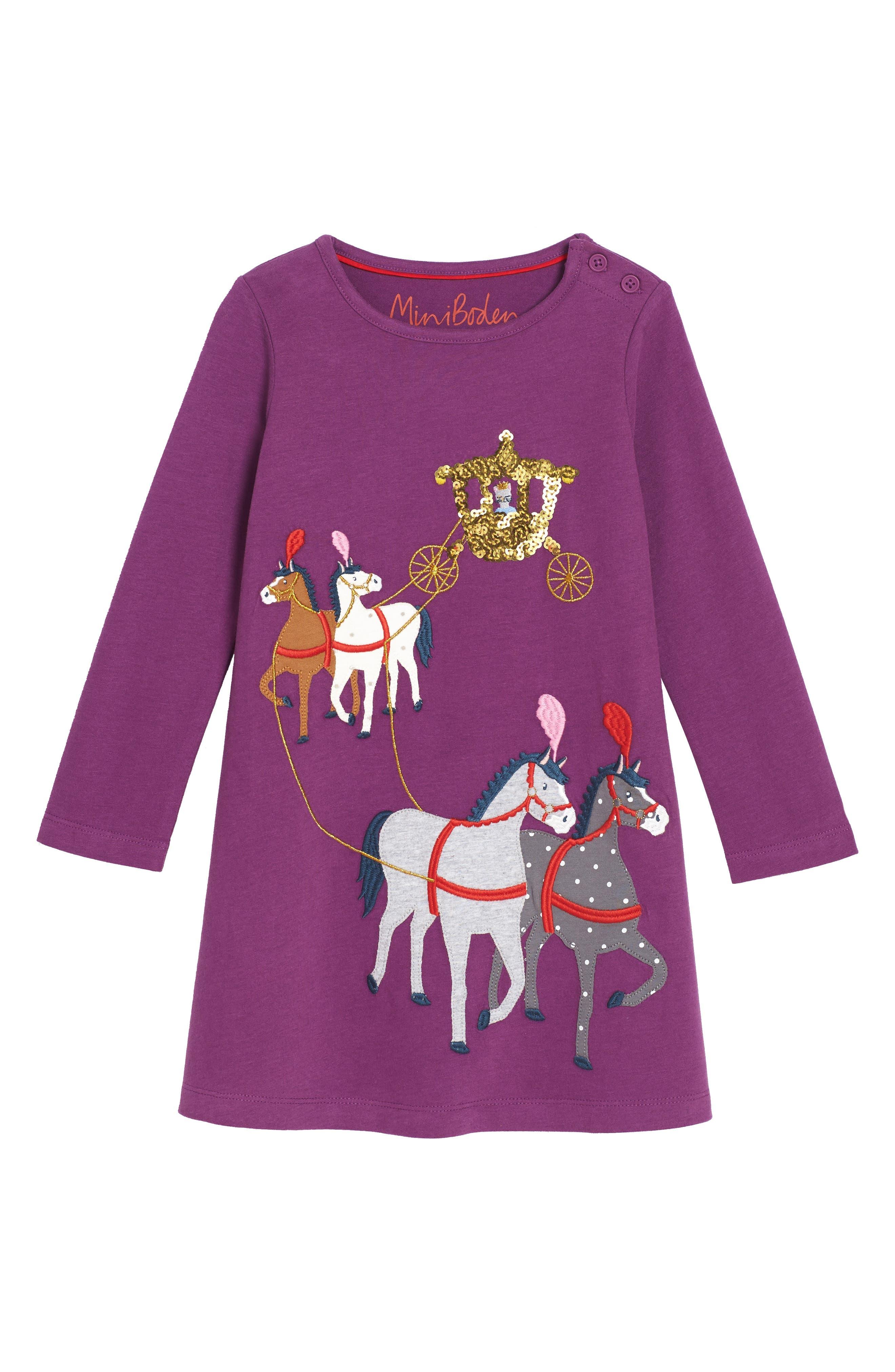 Fairytale Appliqué Dress,                         Main,                         color, Blackcurrant Purple Horses Prp