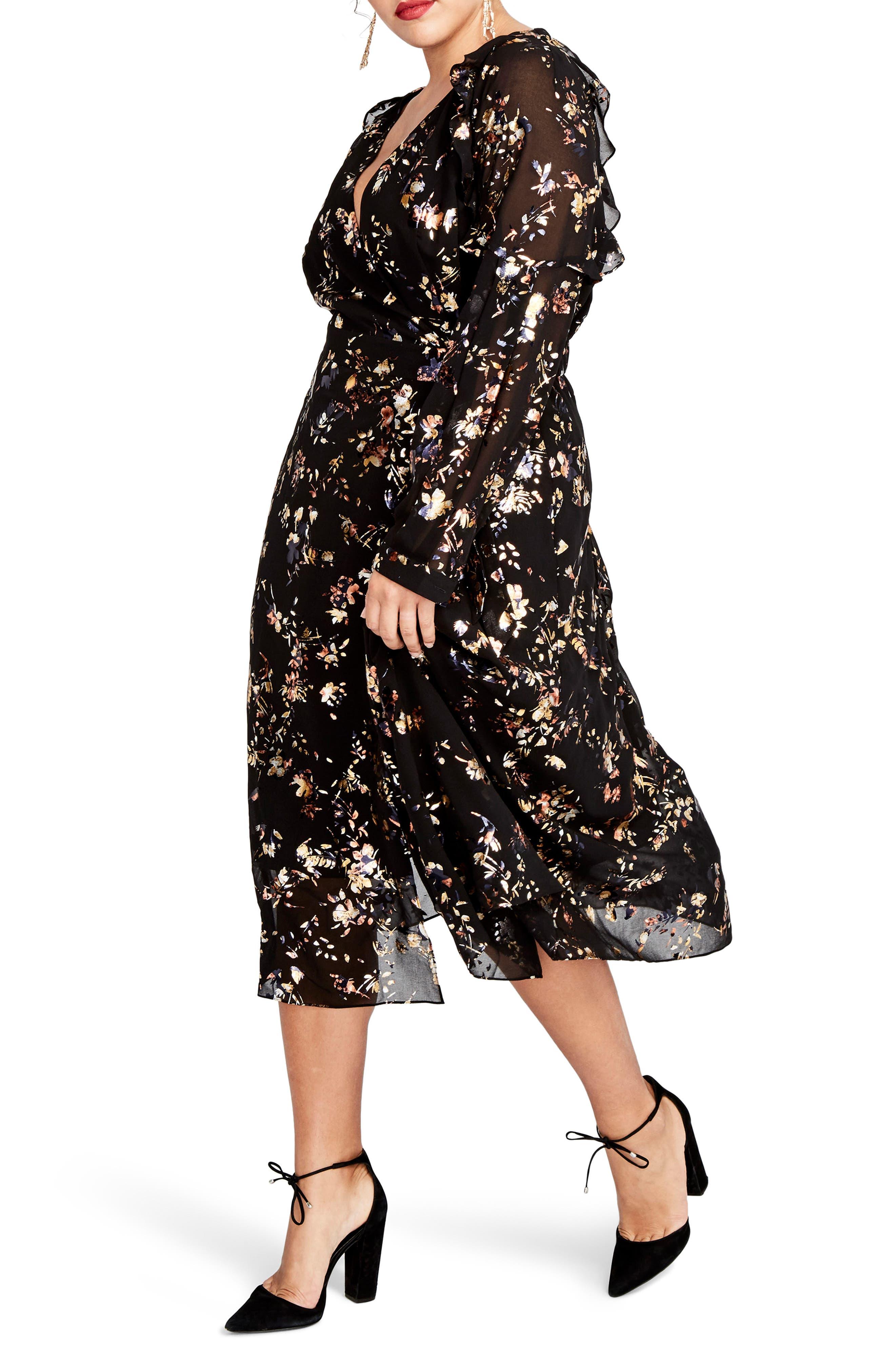 Foiled Floral Faux Wrap Dress,                             Alternate thumbnail 3, color,                             Black Combo