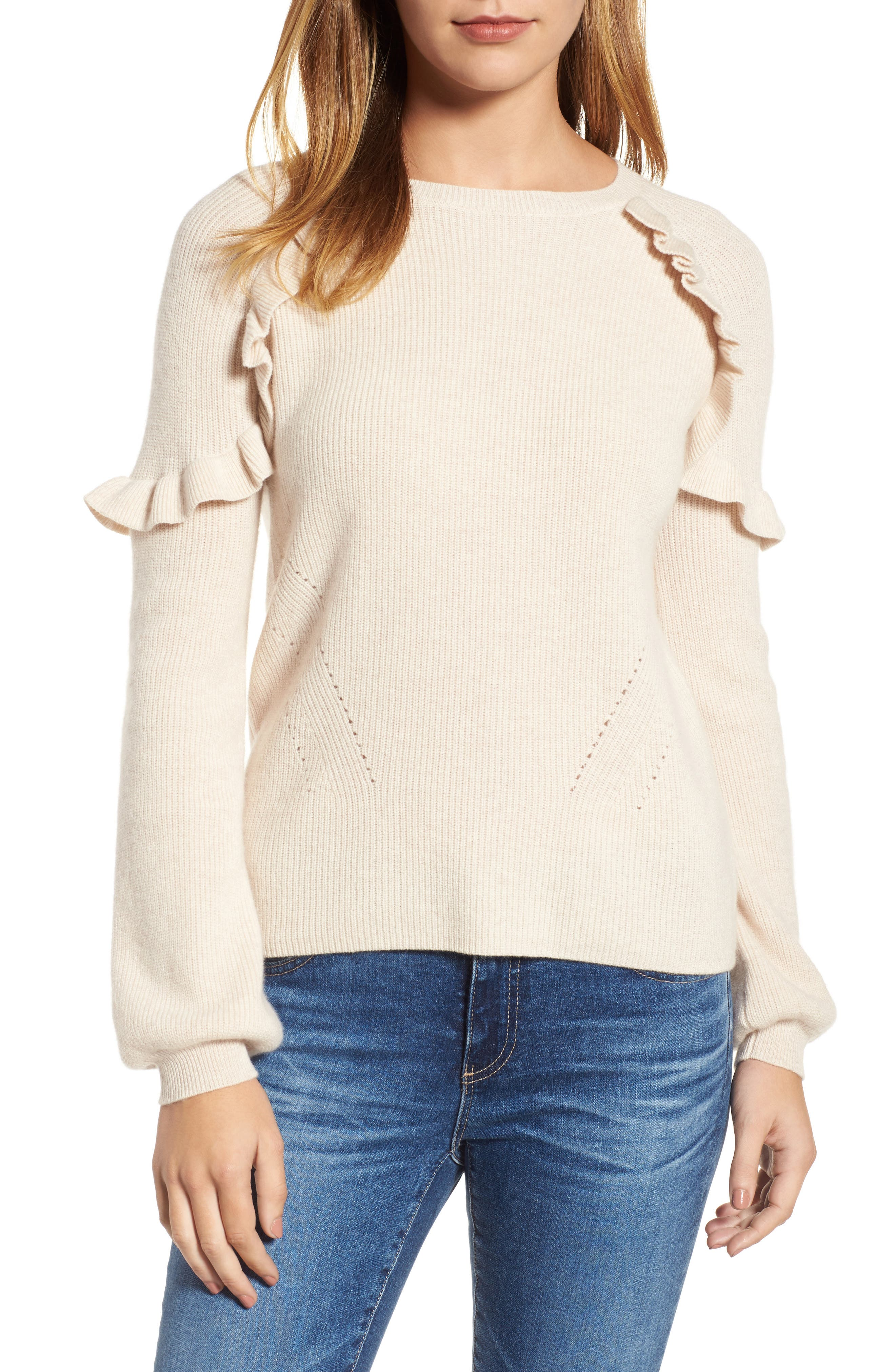 Cashmere Ruffle Shoulder Sweater,                         Main,                         color, Bisque