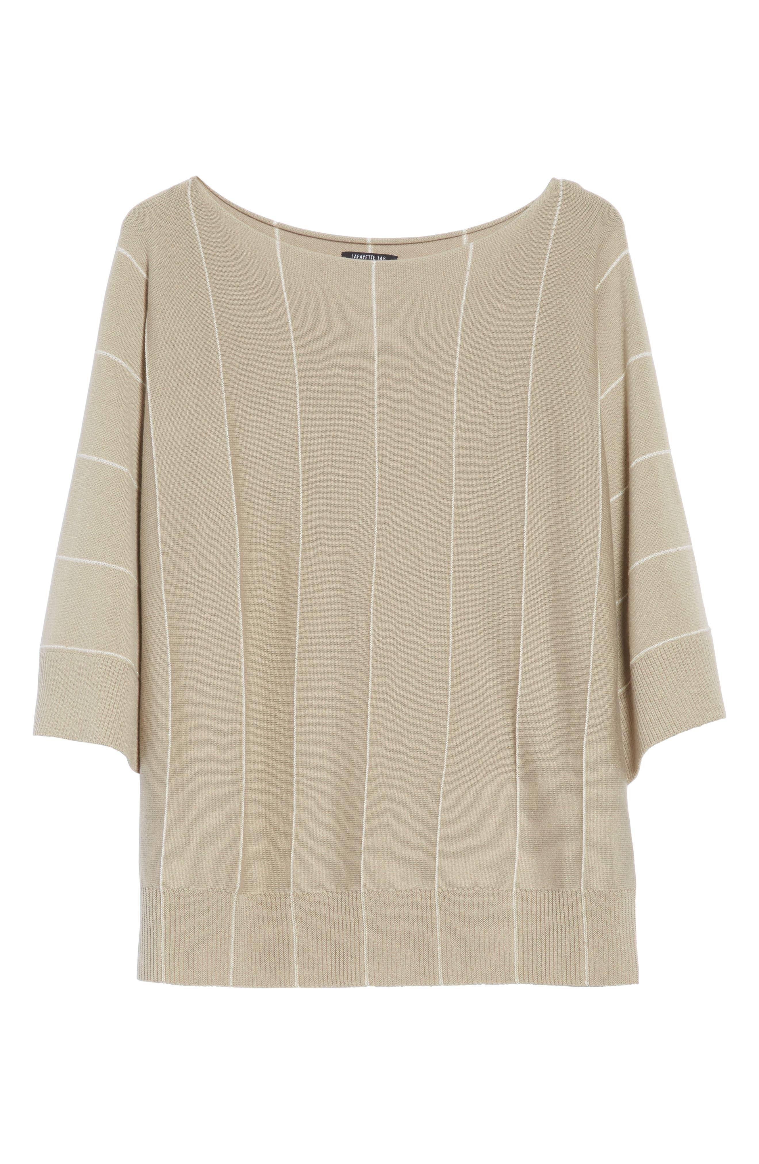 Sequin Knit Cashmere & Silk Pullover,                             Alternate thumbnail 6, color,                             Khaki Multi