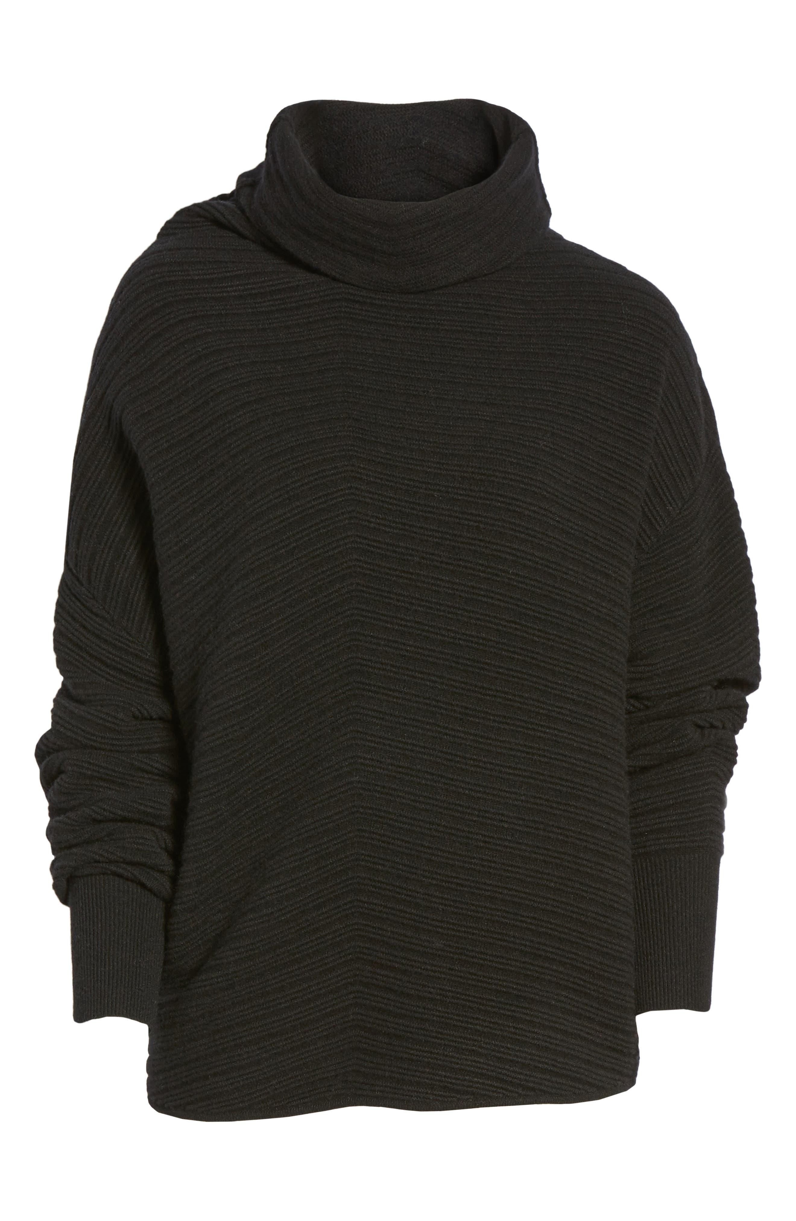 Scrunch Neck Ottoman Knit Cashmere Sweater,                             Alternate thumbnail 6, color,                             Black