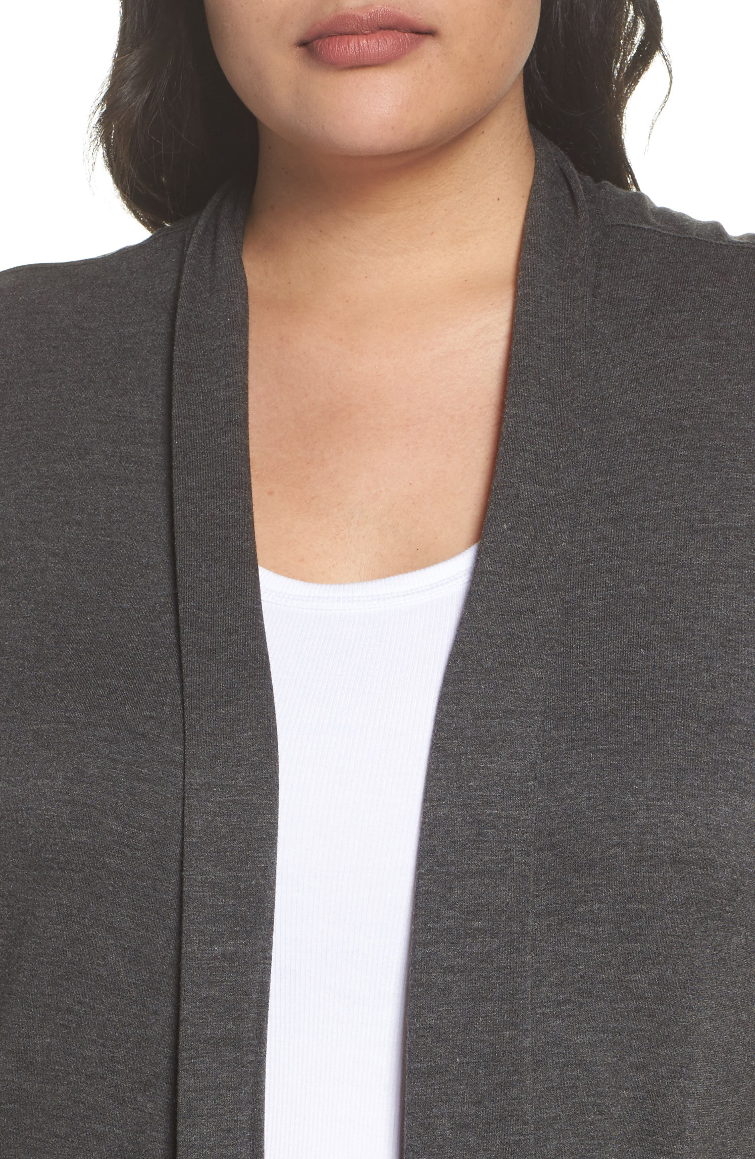 Two-Pocket Stretch Cardigan,                             Alternate thumbnail 4, color,                             Heather Charcoal