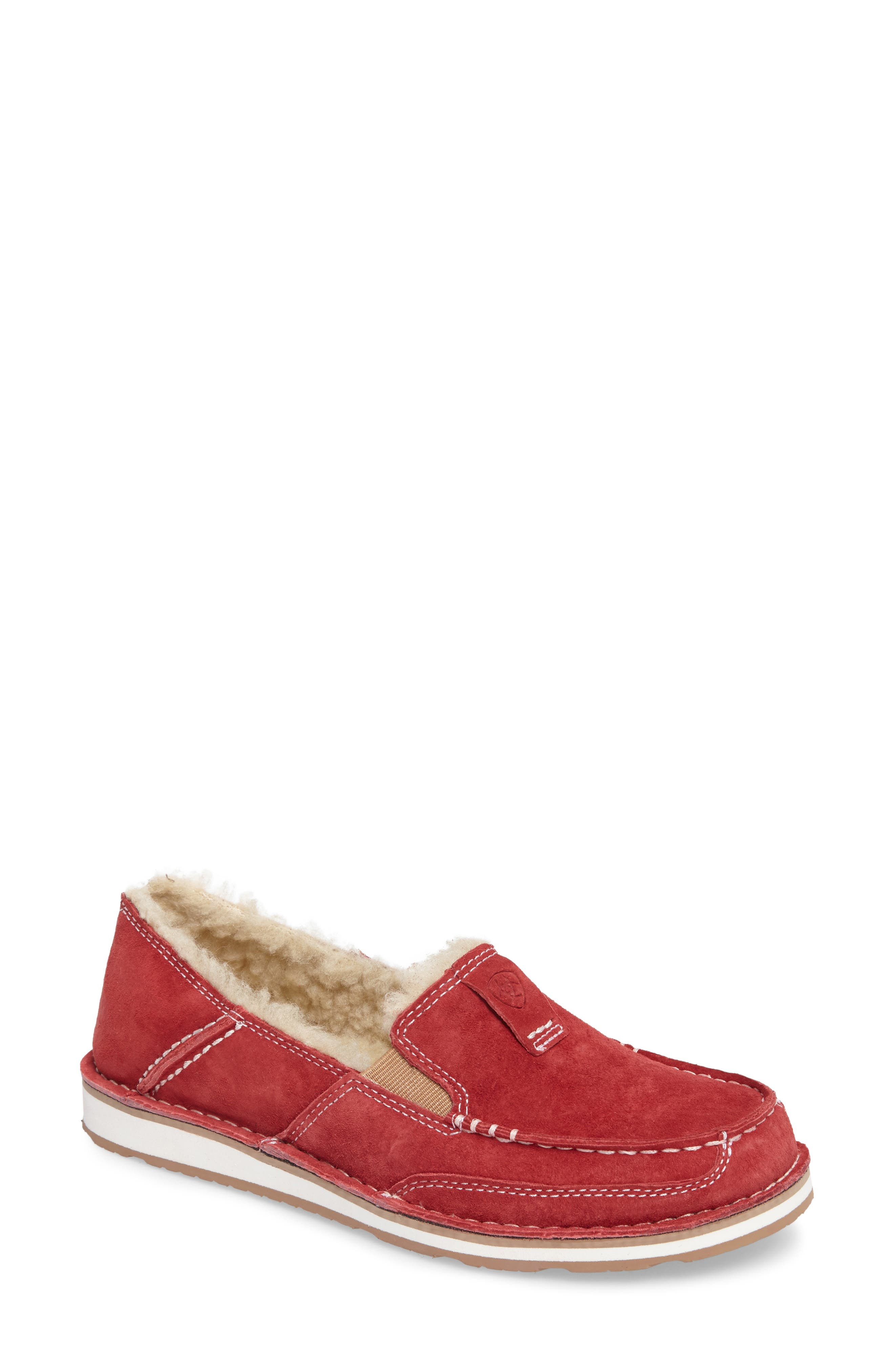 Cruiser Slip-On Loafer With Faux Shearling Lining, Fleece Strawberry Suede