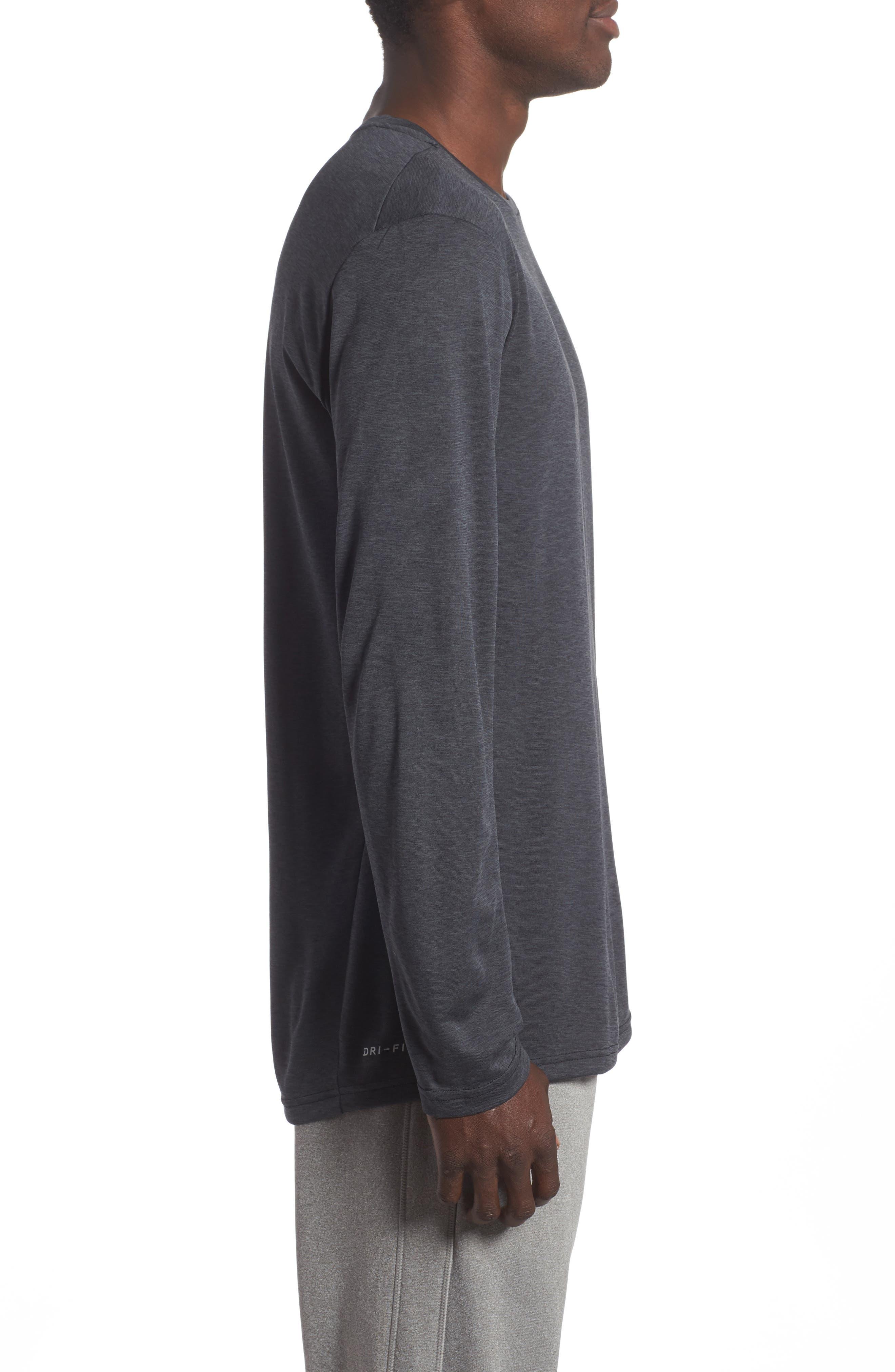 Long Sleeve Training T-Shirt,                             Alternate thumbnail 3, color,                             Black/ Anthracite/ Hematite
