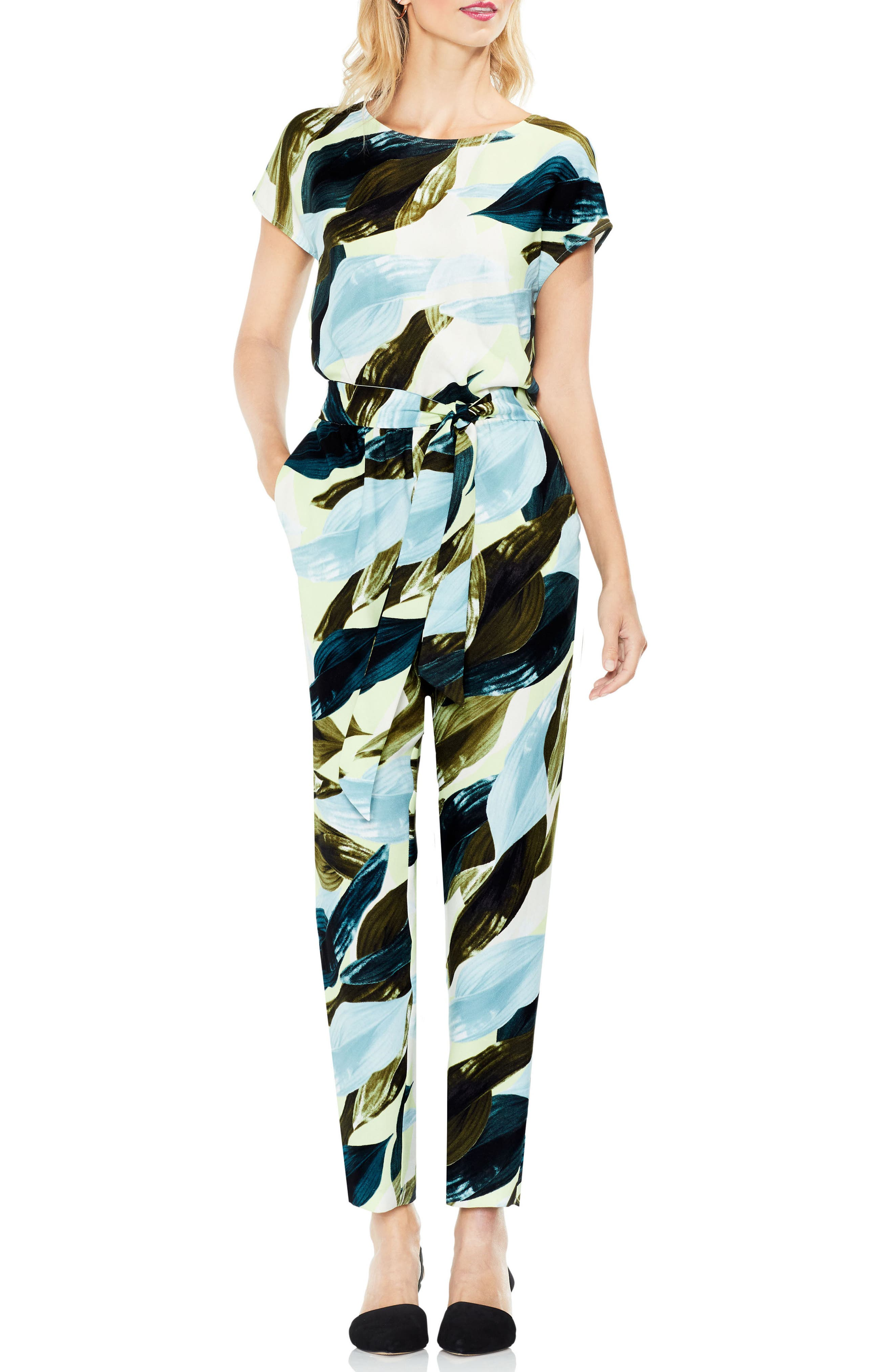 Main Image - Vince Camuto Breezy Leaves Belted Jumpsuit