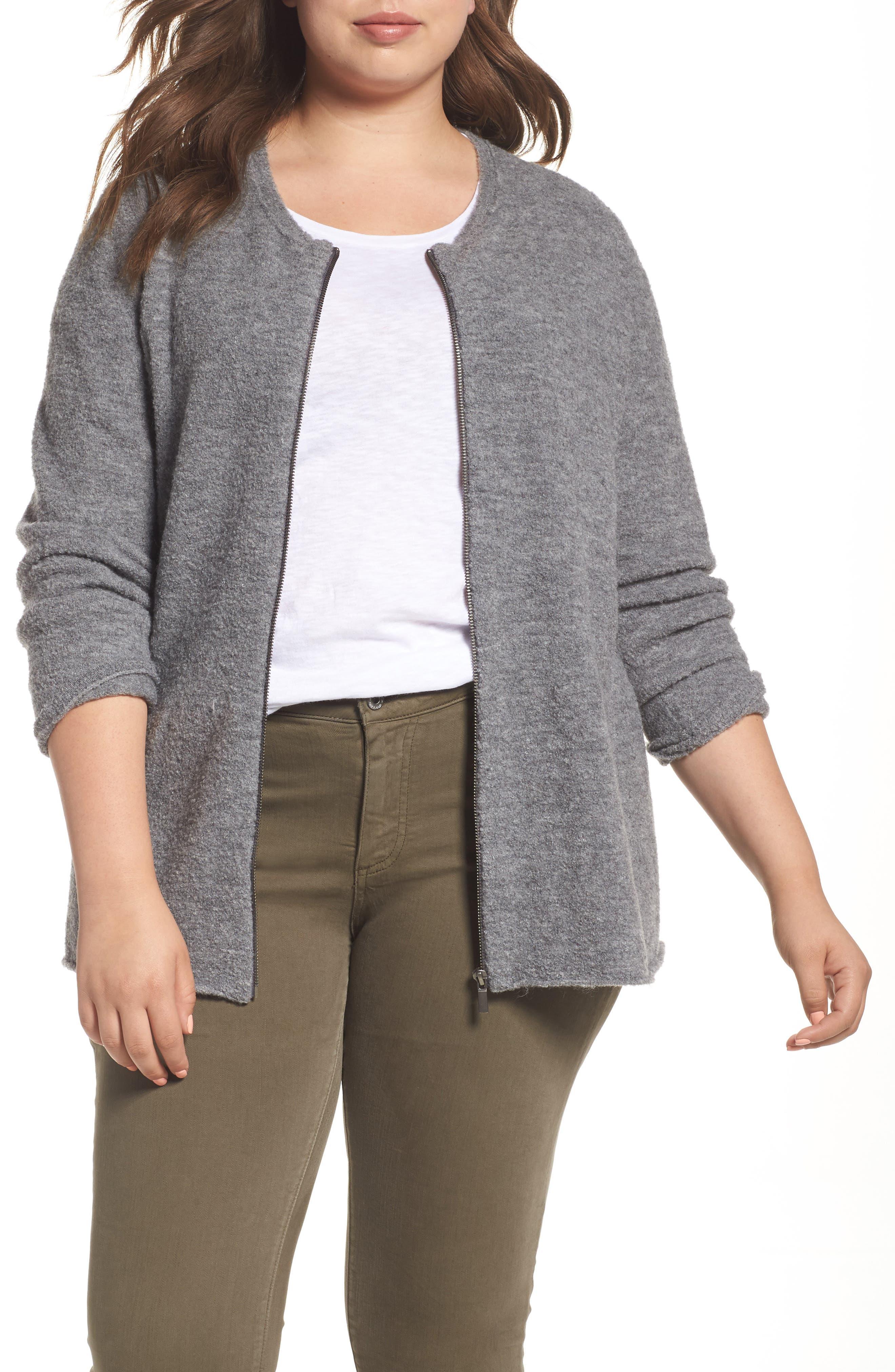 Caslon® Boucle Jacket (Plus Size)