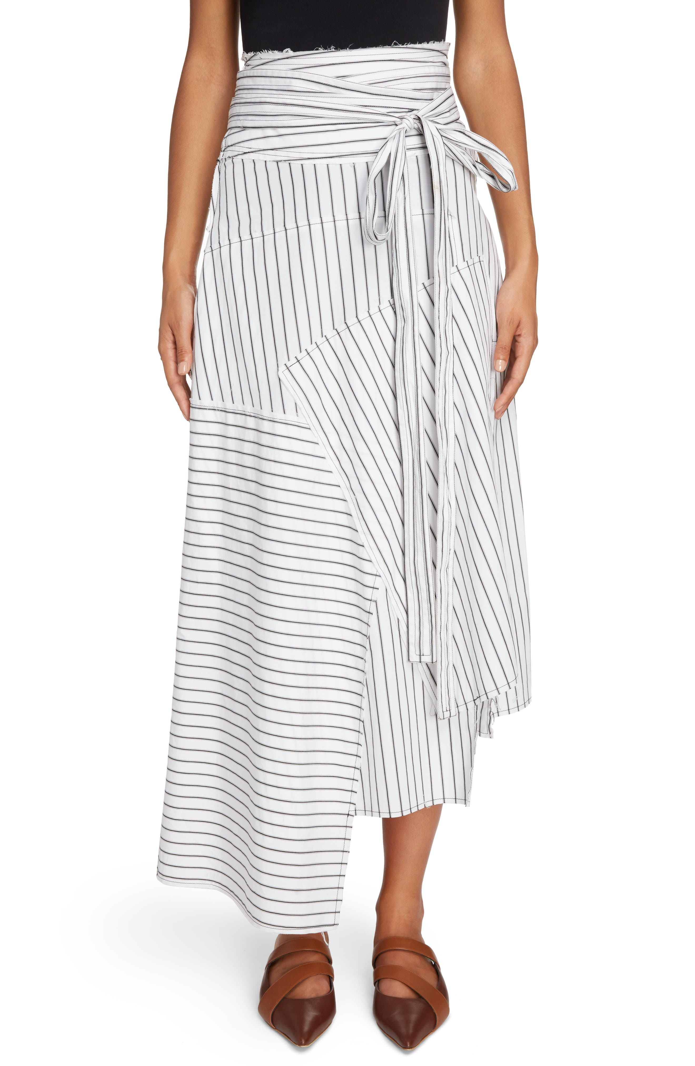 Patchwork Pinstripe Wrap Skirt,                             Main thumbnail 1, color,                             Off White