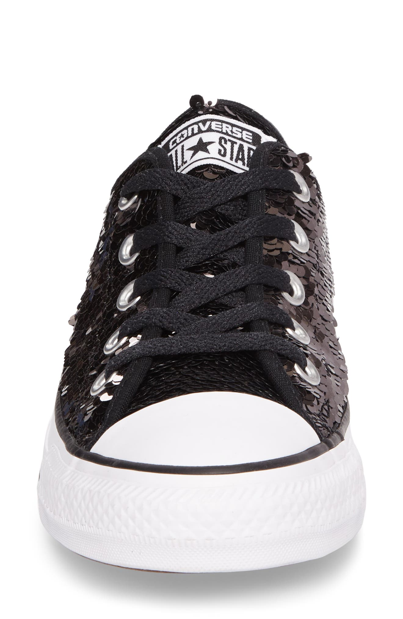 Chuck Taylor<sup>®</sup> All Star<sup>®</sup> Sequin Low Top Sneaker,                             Alternate thumbnail 4, color,                             Gunmetal Sequins