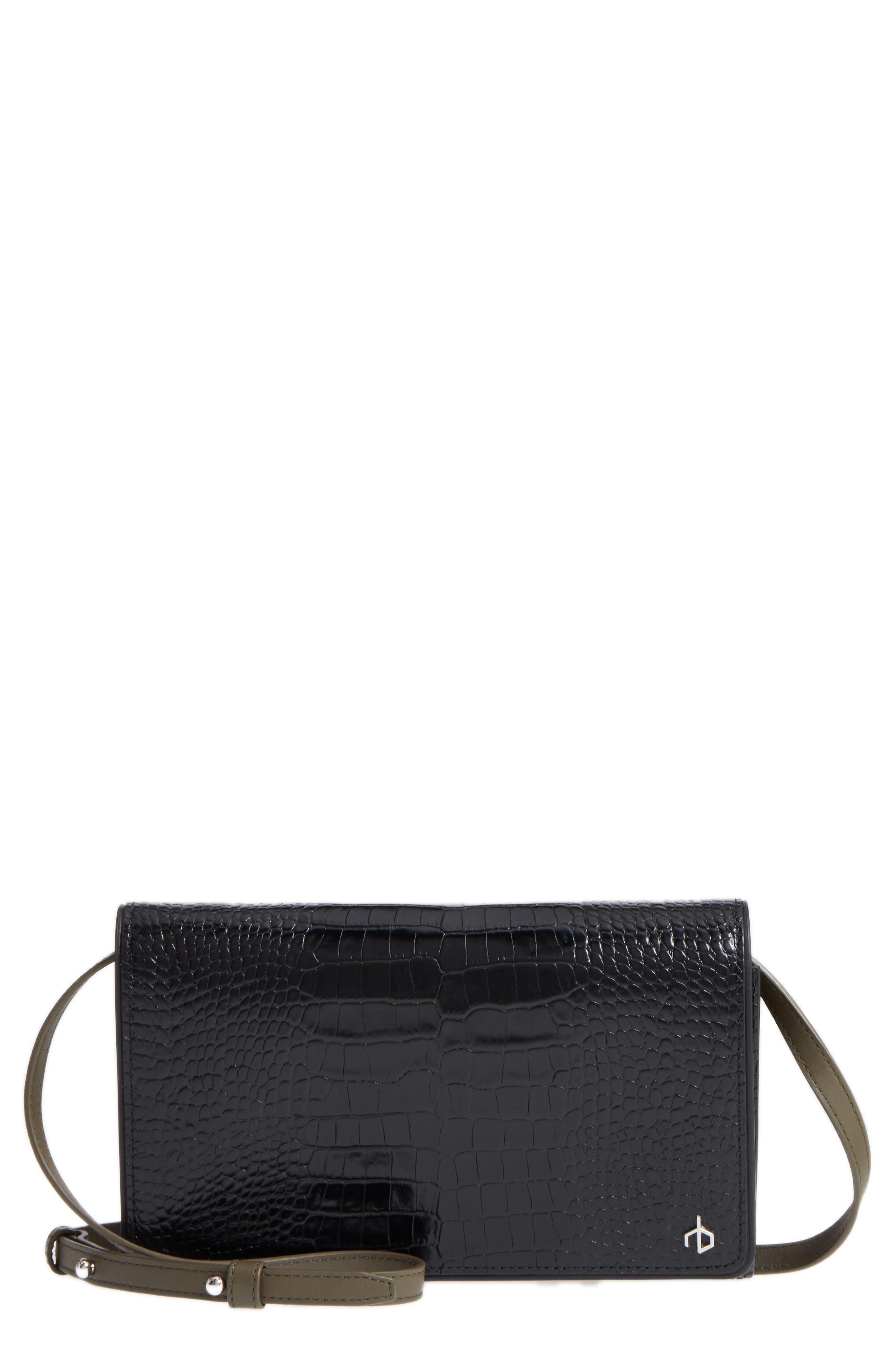 Croc-Embossed Leather Crossbody Wallet,                         Main,                         color, Black Croco