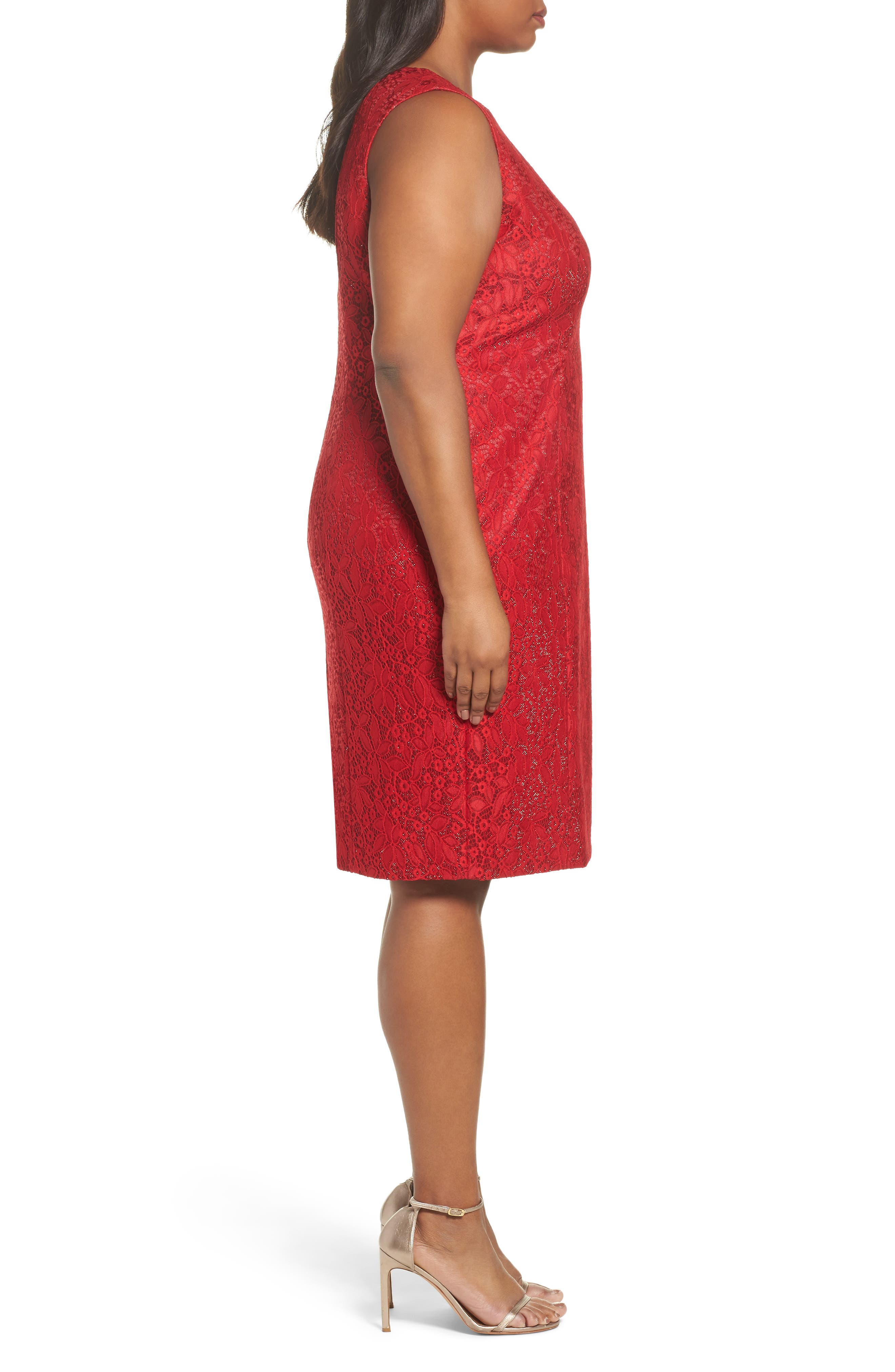 Shimmer Lace Sheath Dress,                             Alternate thumbnail 3, color,                             Lipstick Red