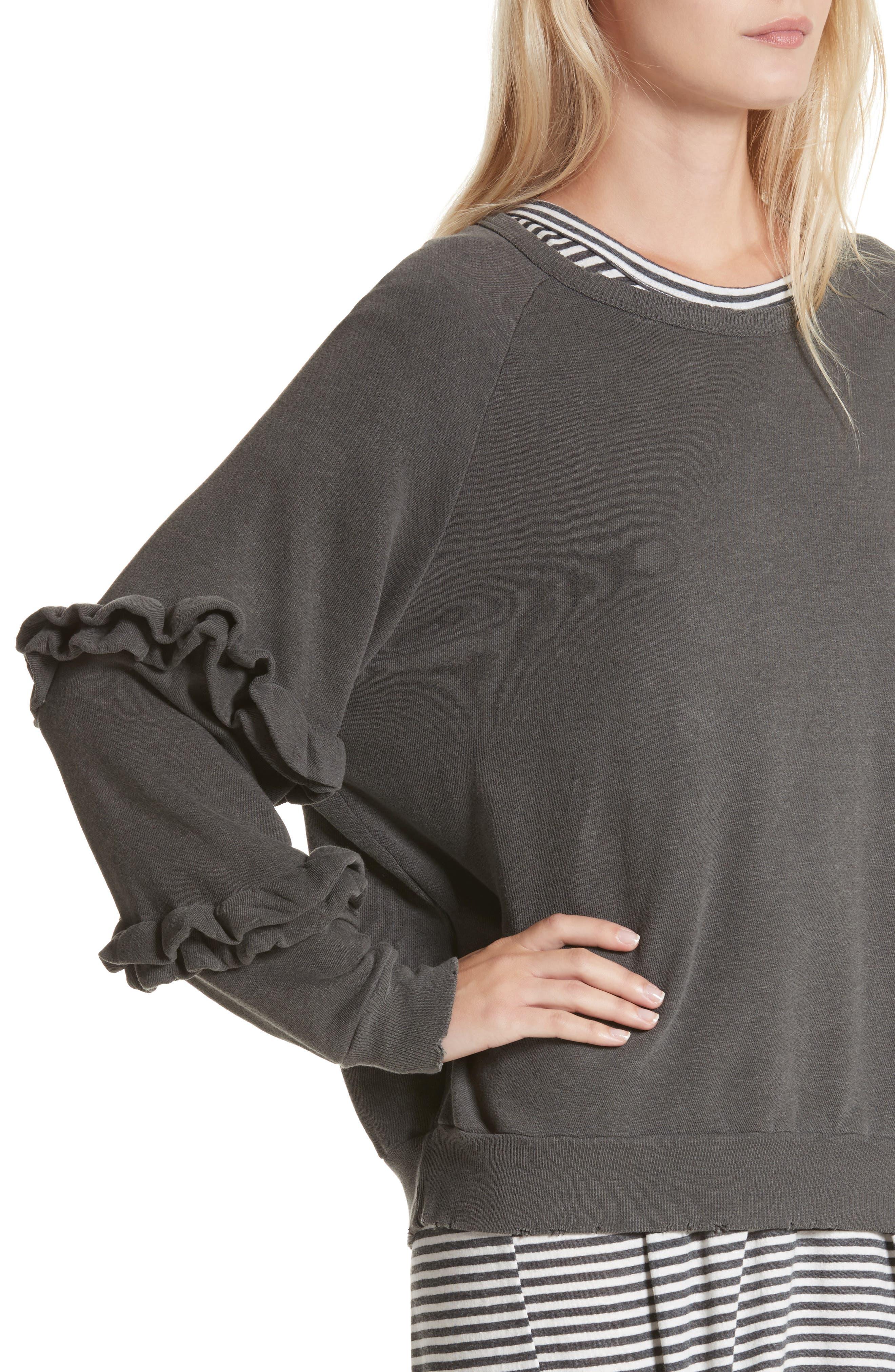 Alternate Image 5  - THE GREAT. The Frill Sleeve Sweatshirt