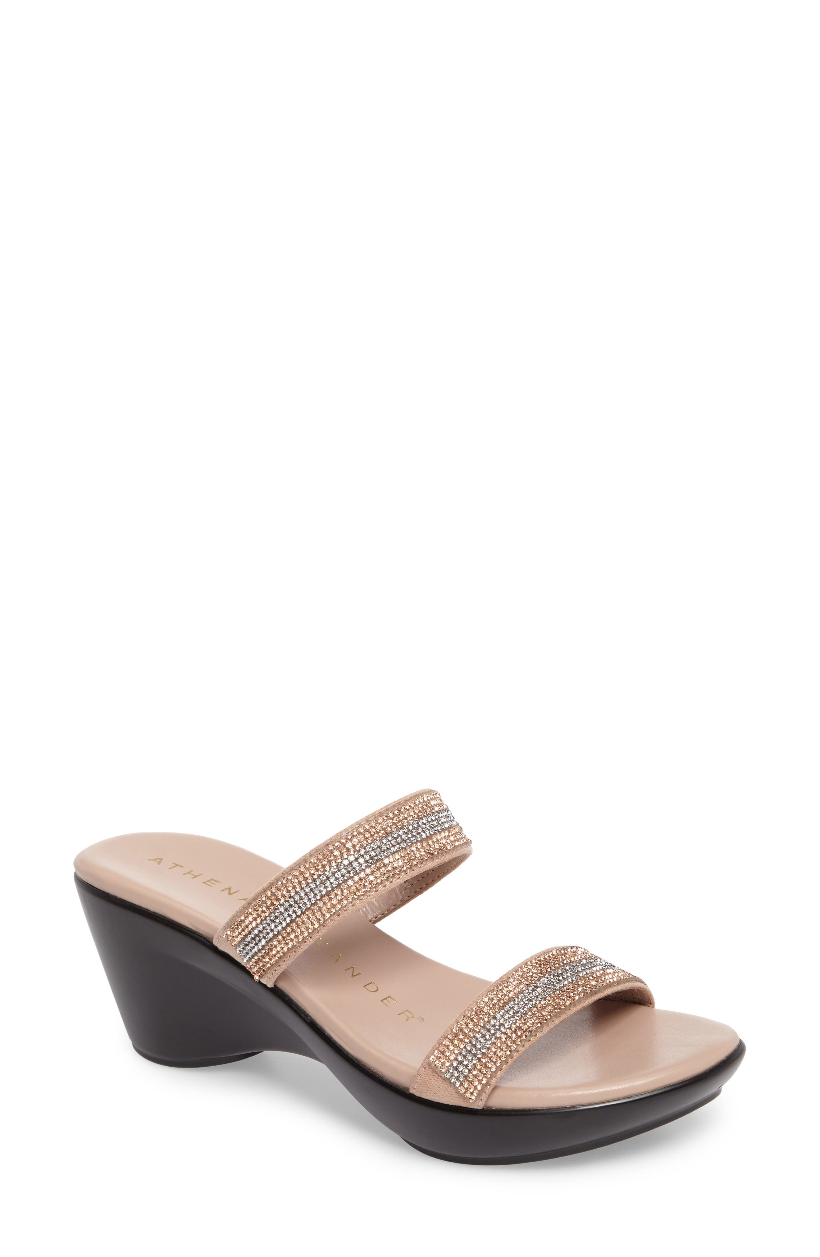 Arlo Wedge Sandal,                             Main thumbnail 1, color,                             Rose Gold Synthetic