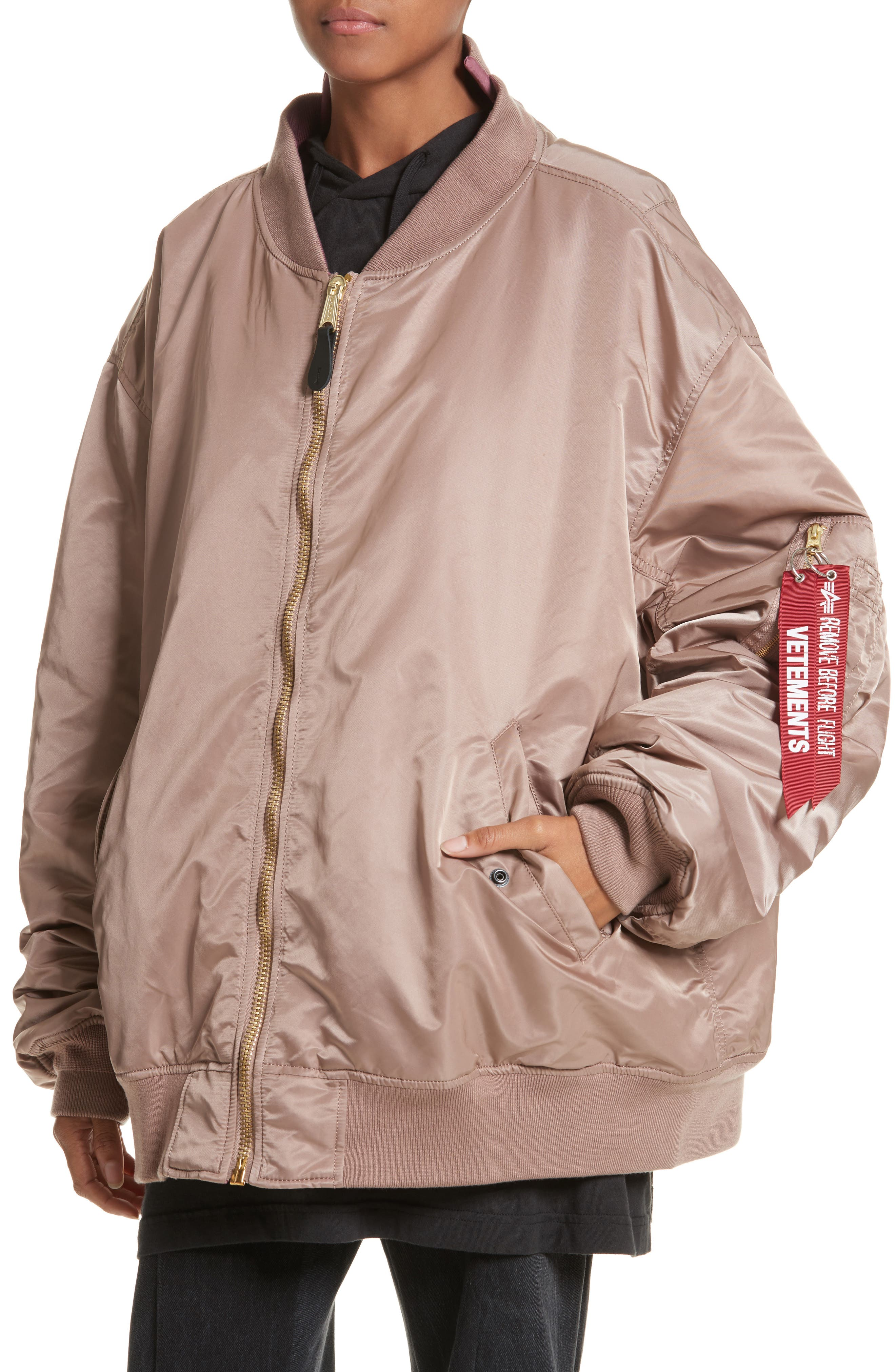 x Alpha Industries Reversible Bomber Jacket,                             Alternate thumbnail 4, color,                             Rose Pink