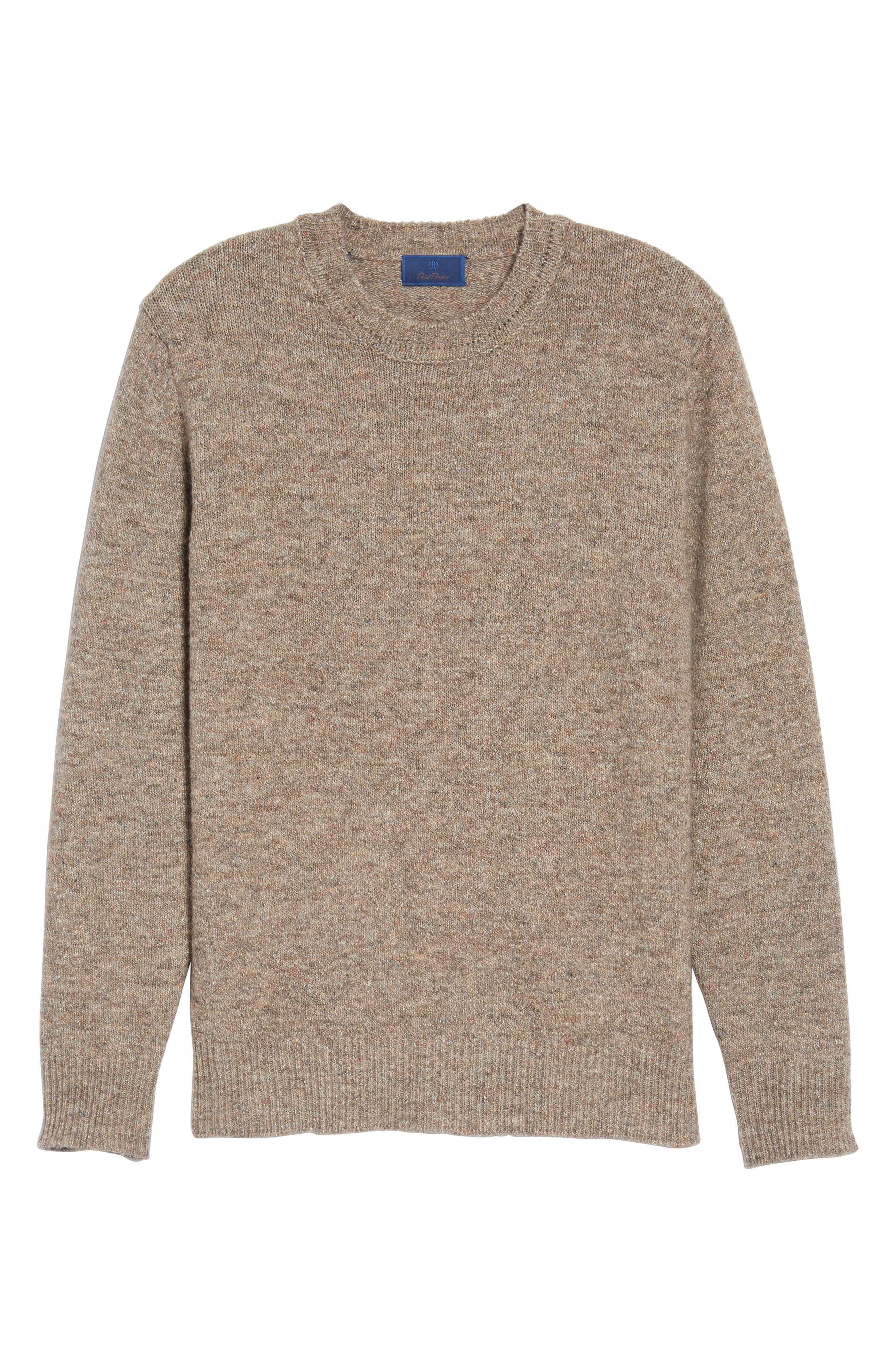 Tweed Crewneck Sweater,                             Alternate thumbnail 6, color,                             Sand
