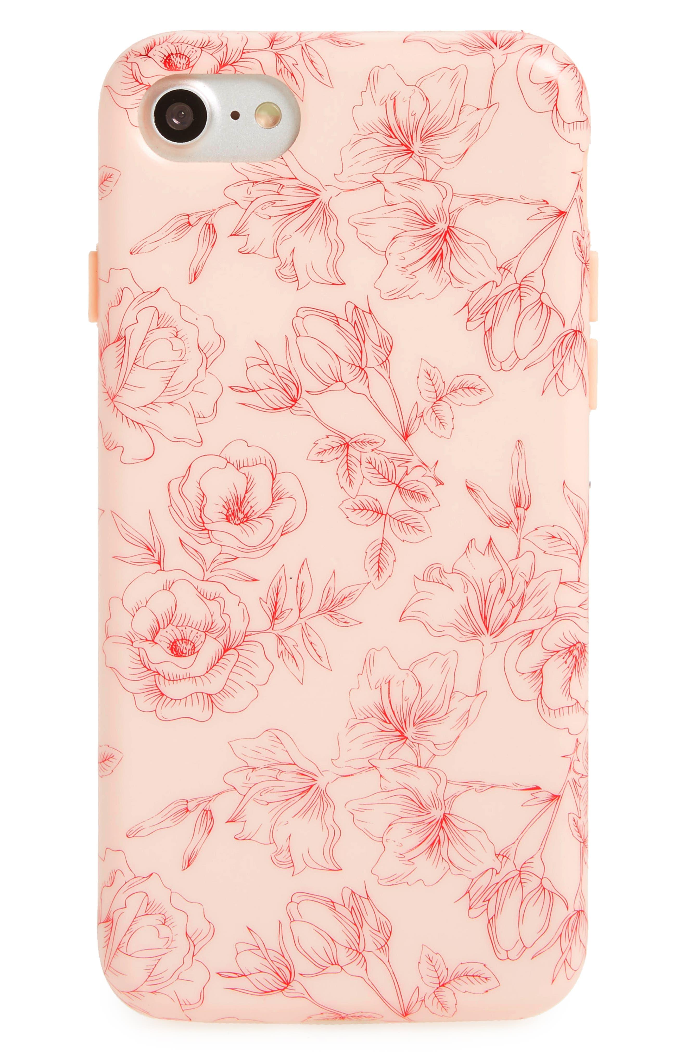 Floral Chrome iPhone 7/8 Case,                             Main thumbnail 1, color,                             Pink