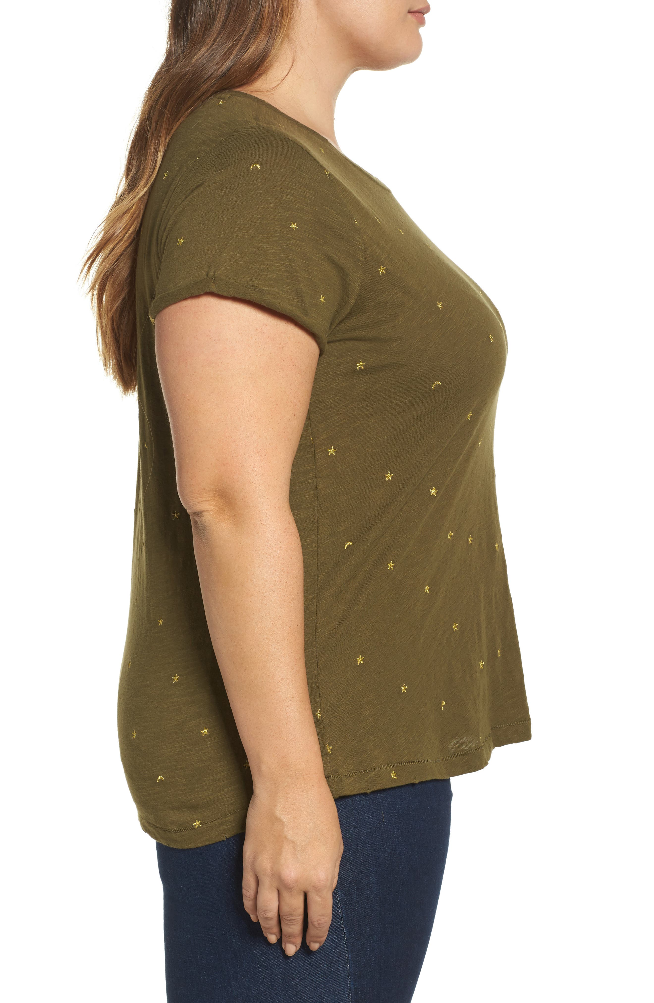 Alternate Image 3  - Lucky Brand Embroidered Tee (Plus Size)