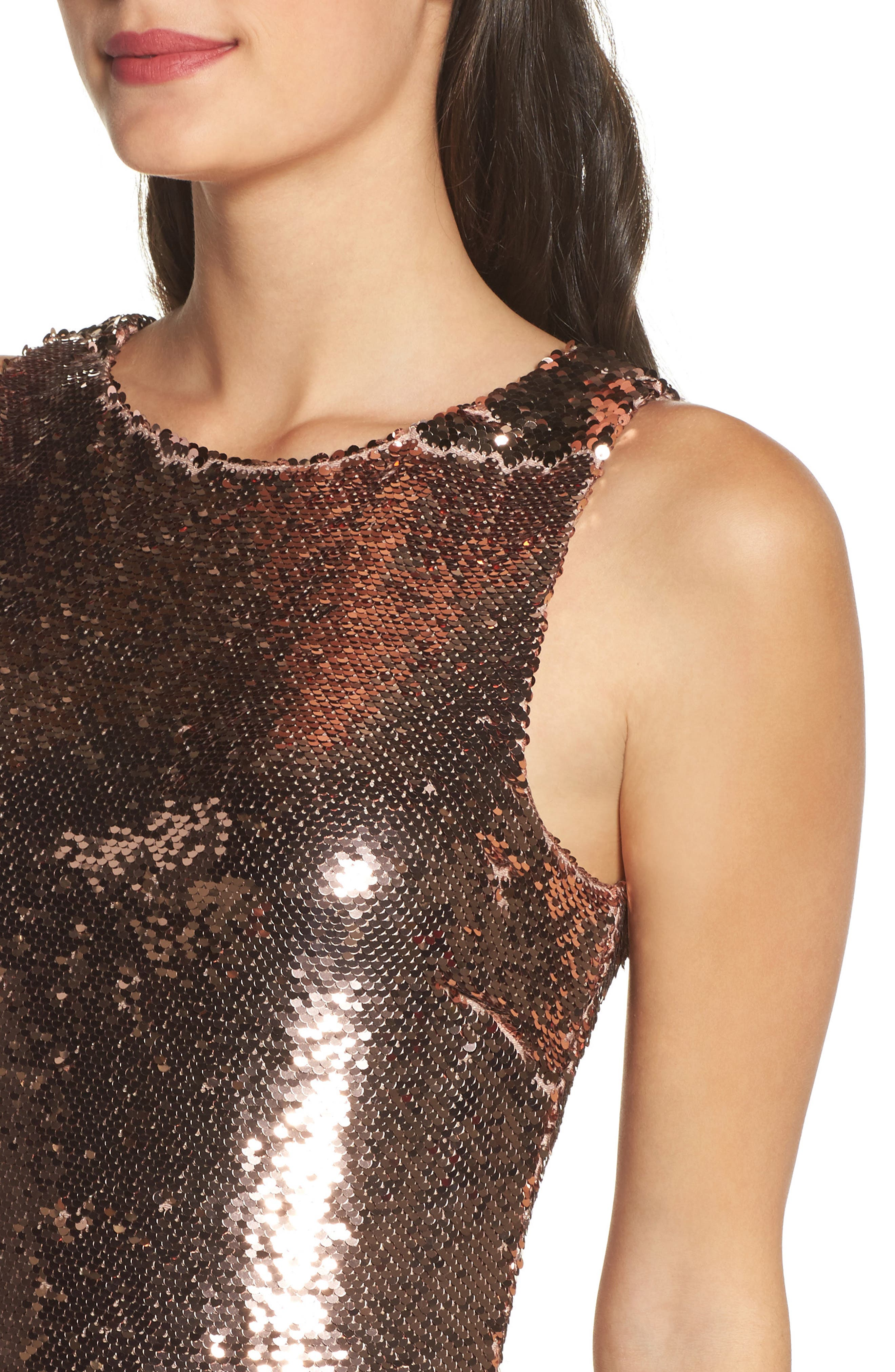 Garland Sequin Sheath Dress,                             Alternate thumbnail 4, color,                             Rose Gold
