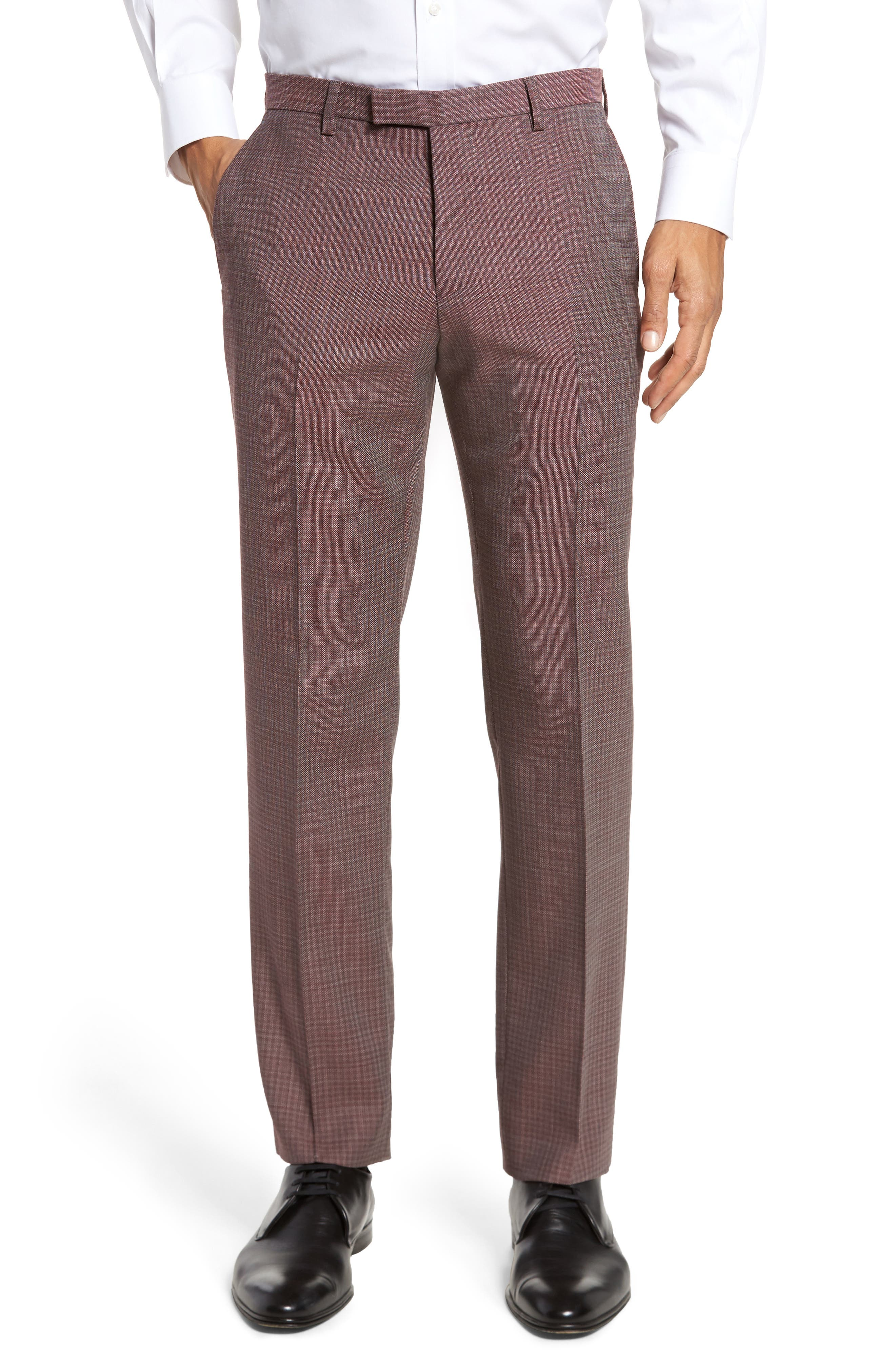 Leenon Flat Front Regular Fit Check Wool Trousers,                         Main,                         color, Medium Red