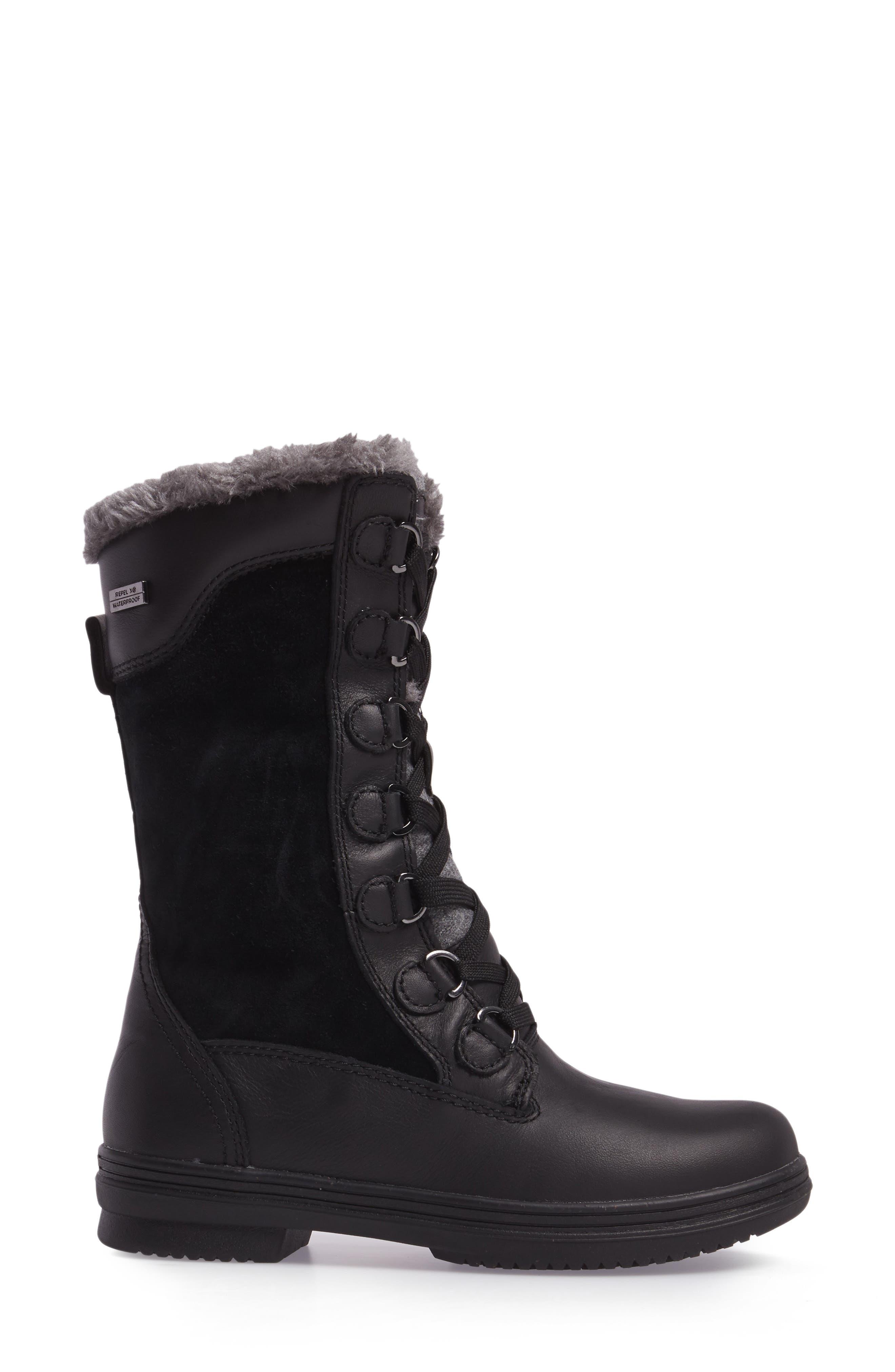 Glata Waterproof Boot,                             Alternate thumbnail 3, color,                             Black Leather