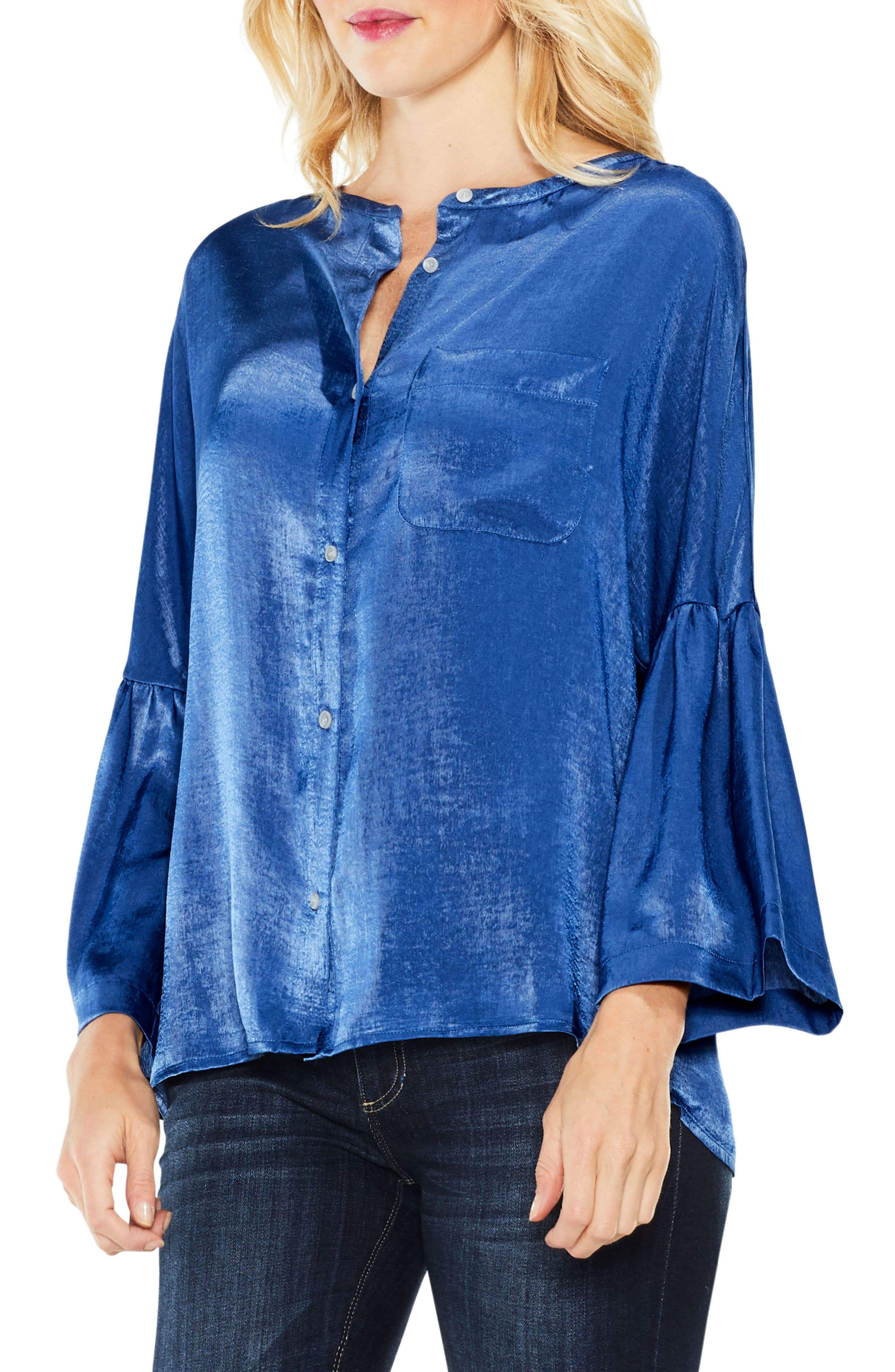Bell Sleeve Satin Shirt,                         Main,                         color, Divine Blue