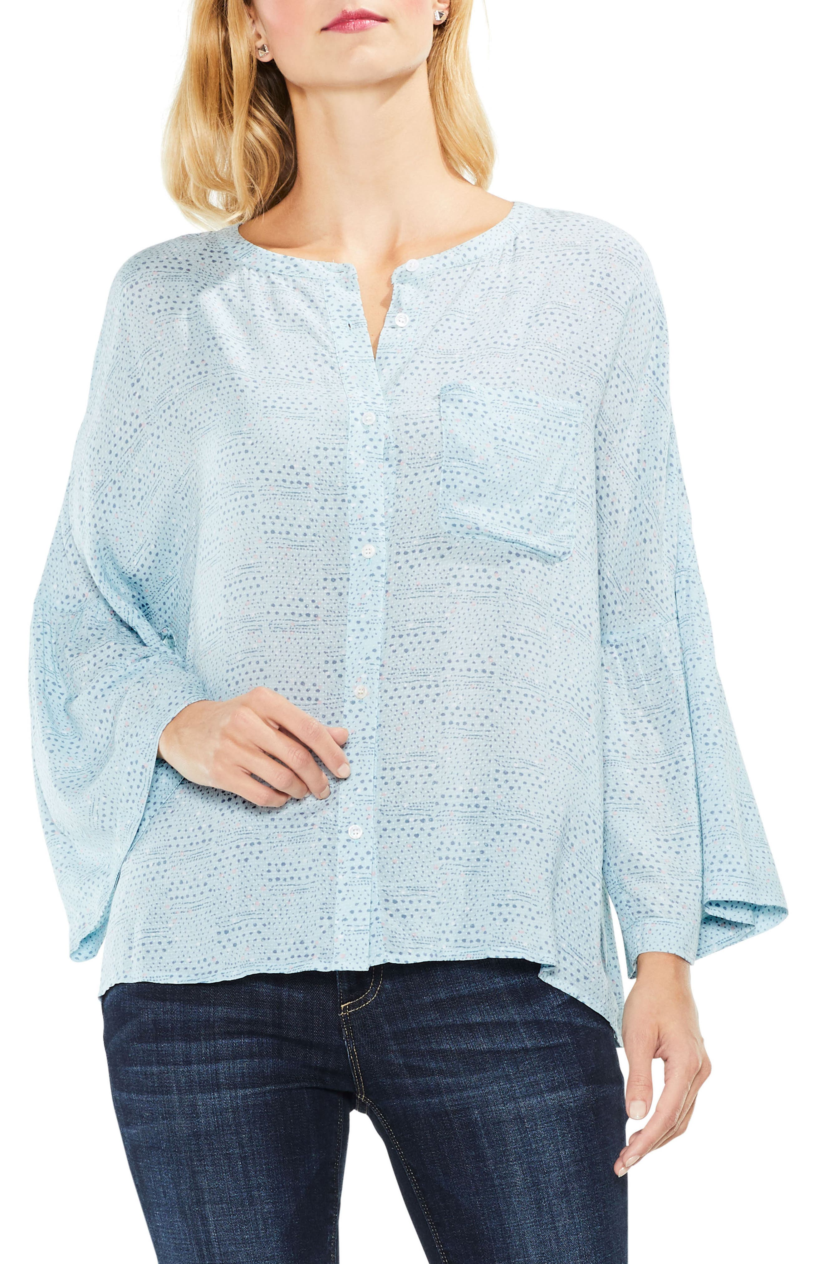 Two by Vince Camuto Bell Sleeve Geo Dialogue Top,                             Main thumbnail 1, color,                             Soft Skies