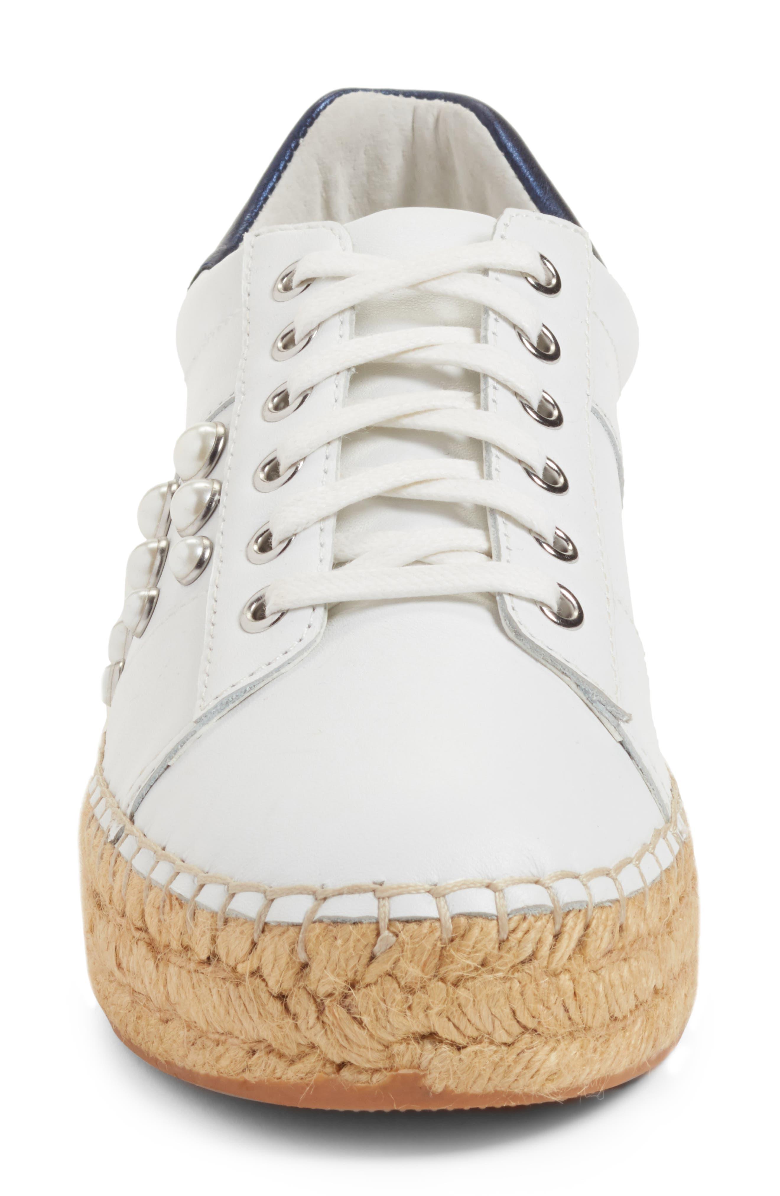 Marge Espadrille Platform Sneaker,                             Alternate thumbnail 4, color,                             White/ Navy Leather
