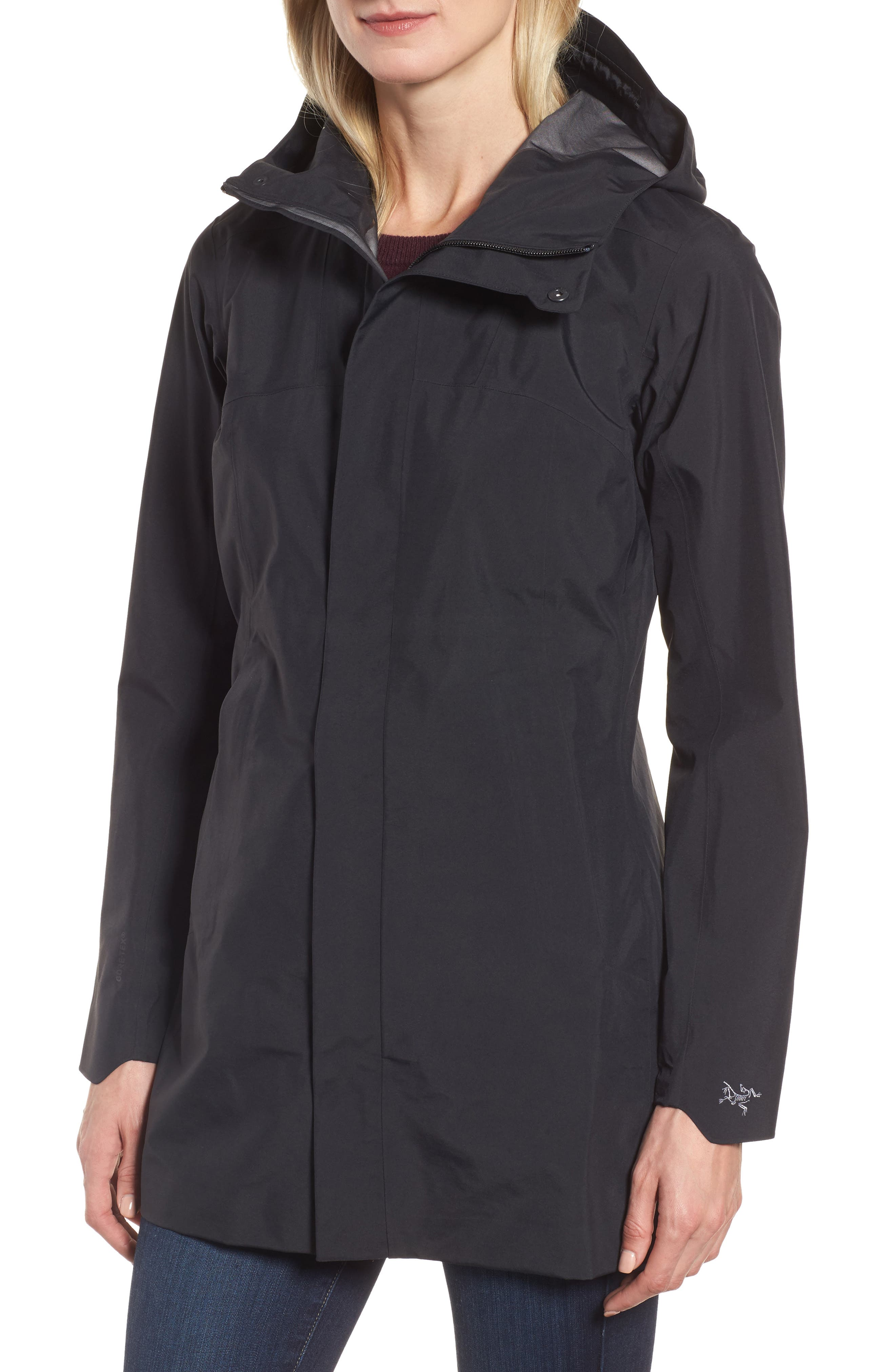 Codetta Waterproof Relaxed Fit Gore-Tex<sup>®</sup> 3L Rain Jacket,                             Alternate thumbnail 4, color,                             Black