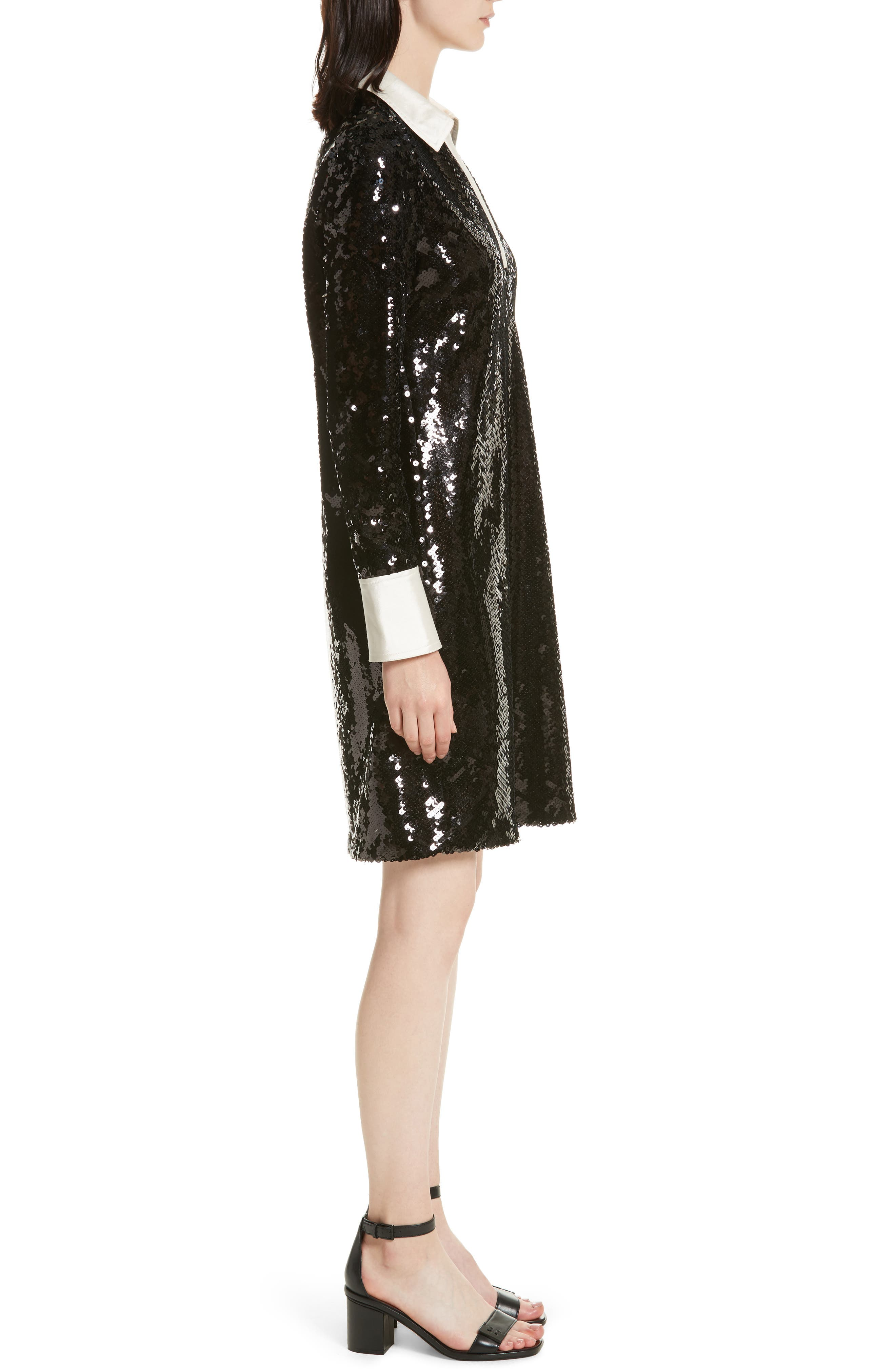 Monica Sequin Dress,                             Alternate thumbnail 3, color,                             Black
