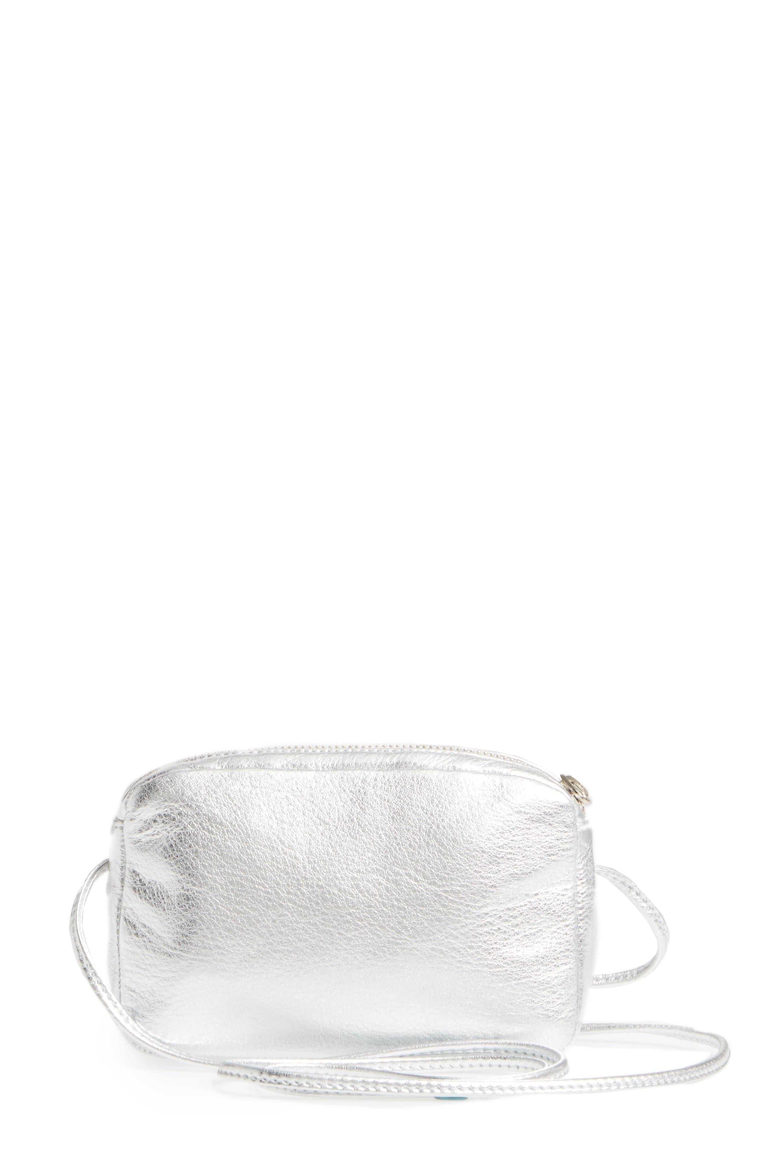 'Mini' Pebbled Leather Crossbody,                         Main,                         color, Silver