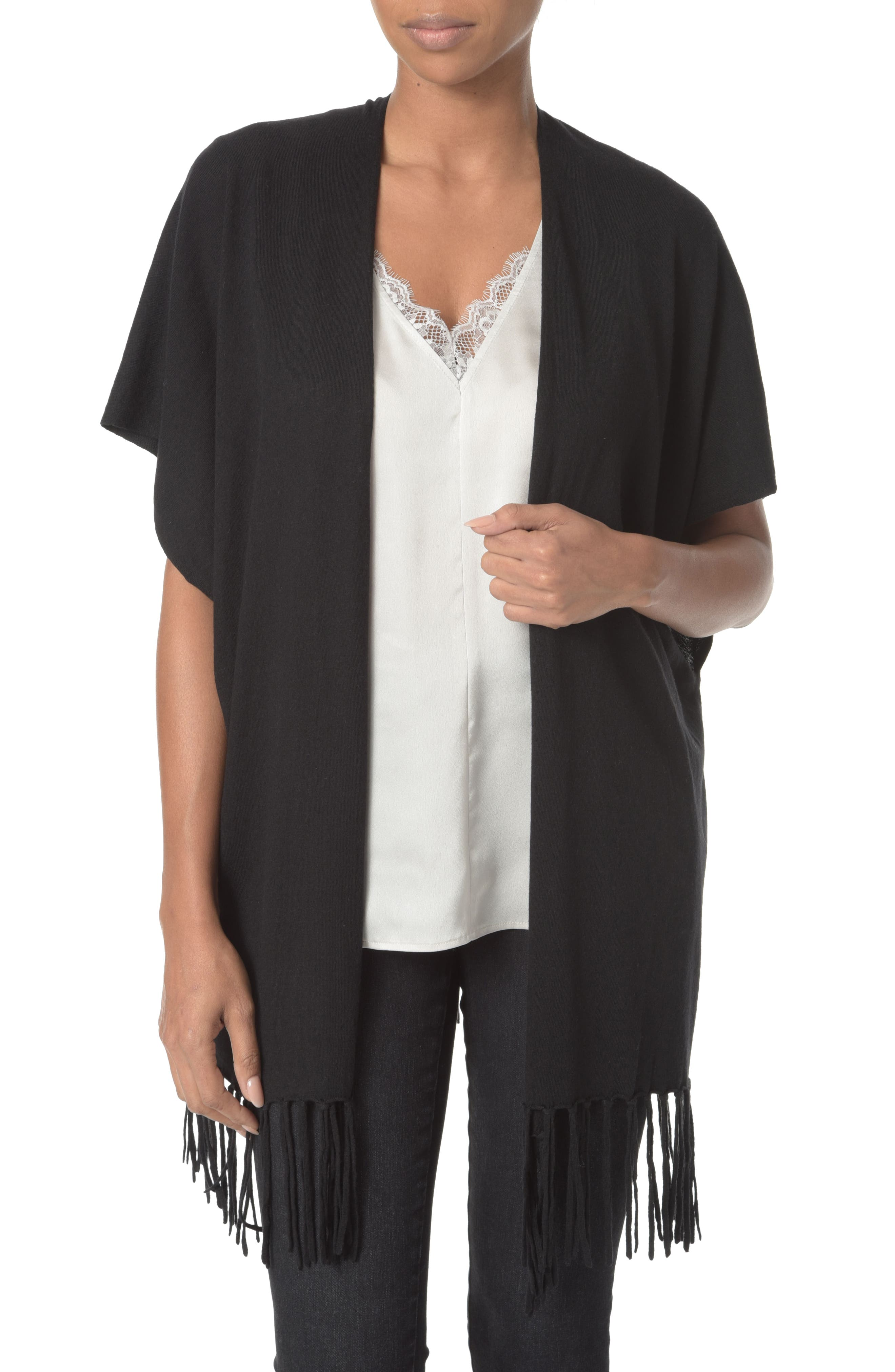 Main Image - NYDJ Fringe Sweater Wrap