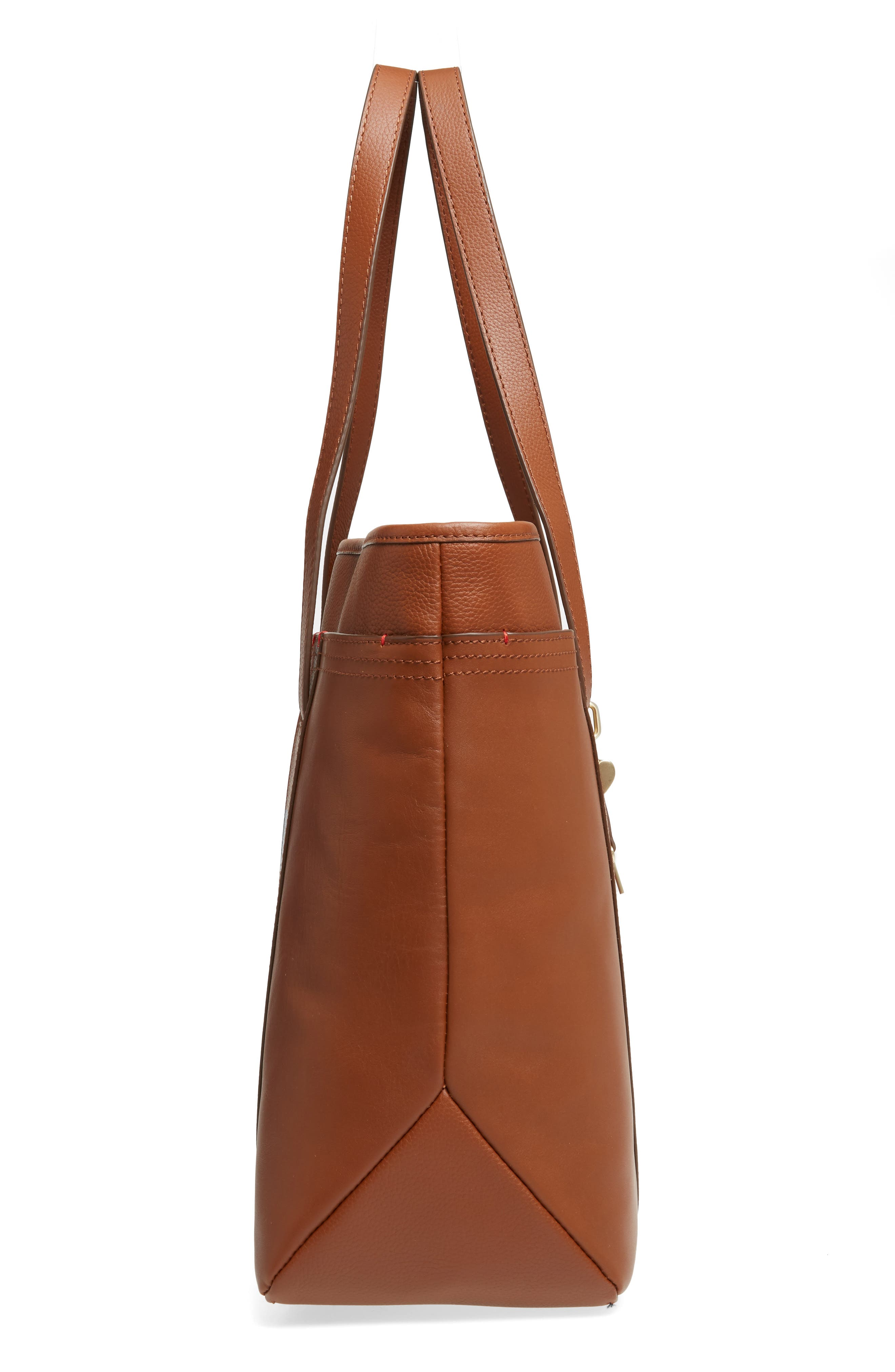 Brody Leather Tote,                             Alternate thumbnail 5, color,                             Whiskey