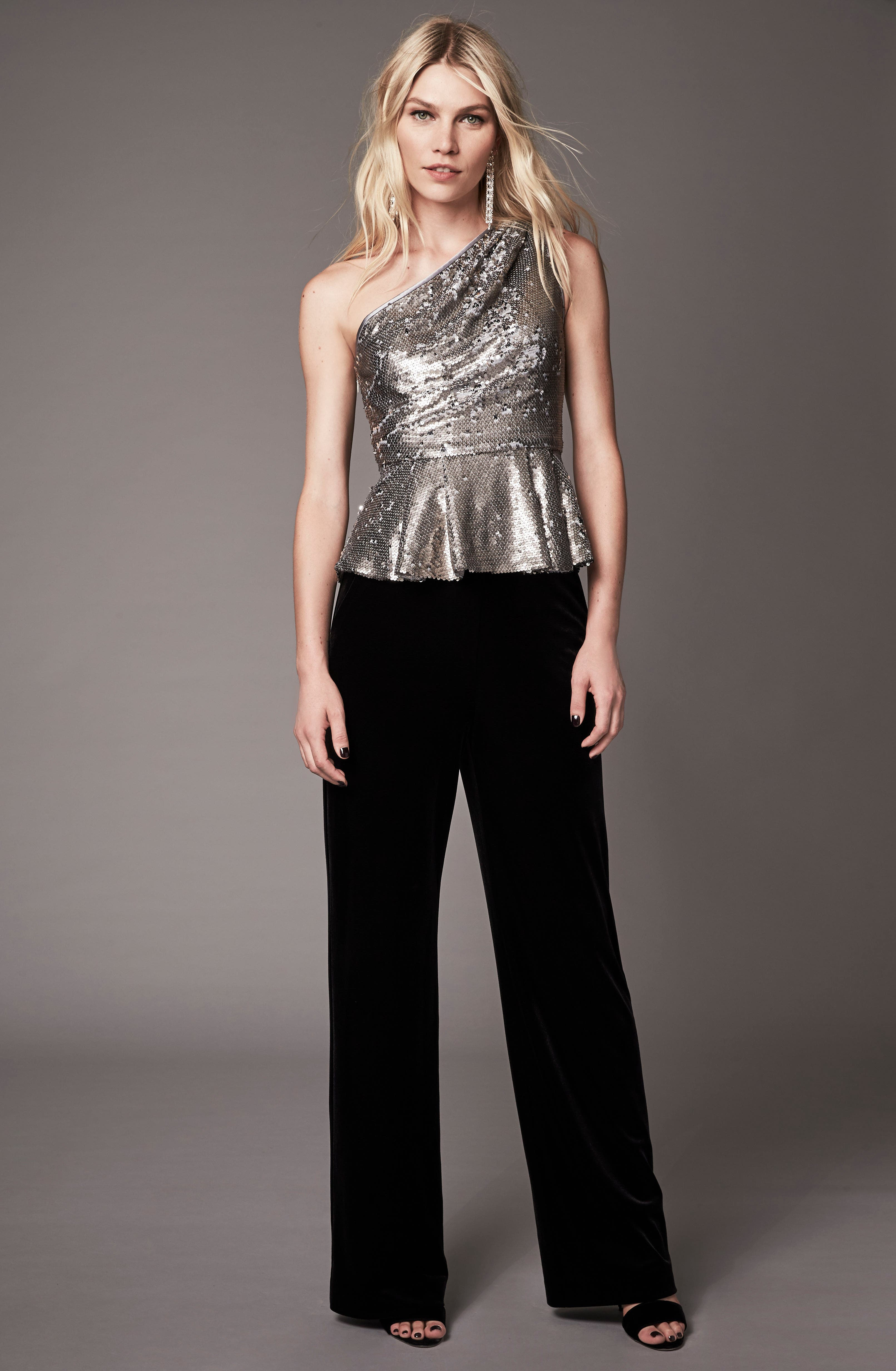 One-Shoulder Sequin Peplum Top,                             Alternate thumbnail 7, color,