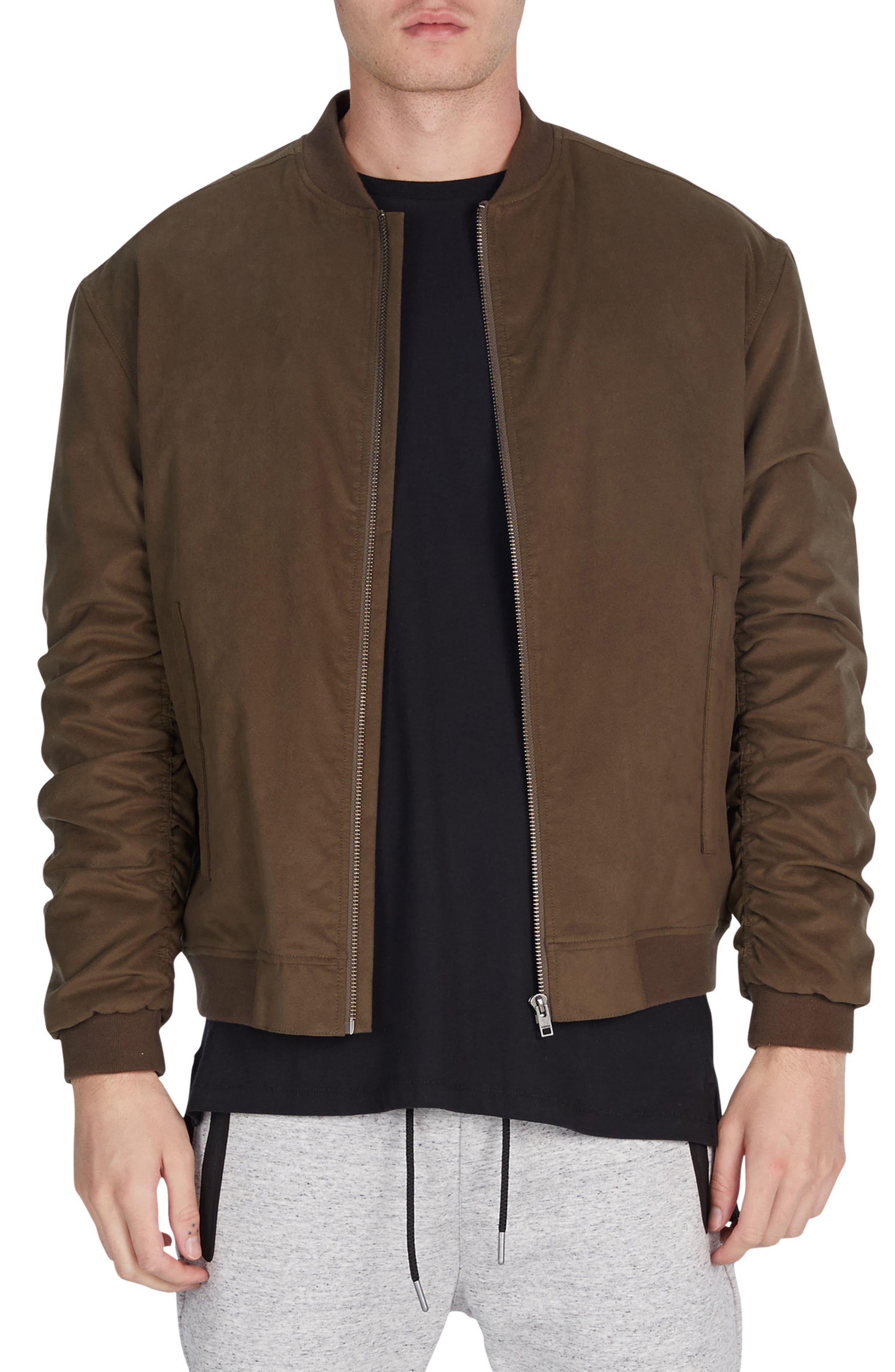Cush Trim Fit Bomber Jacket,                         Main,                         color, Peat