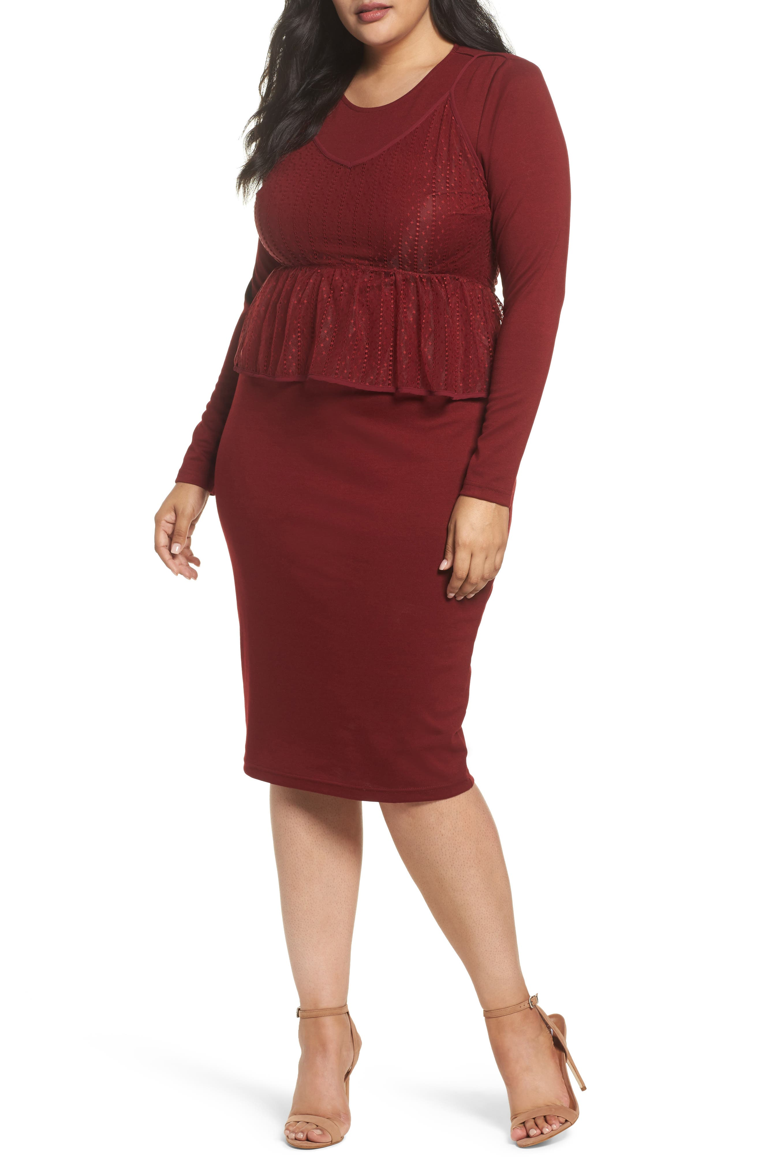 Peplum Overlay Body-Con Dress,                             Main thumbnail 1, color,                             Oxblood