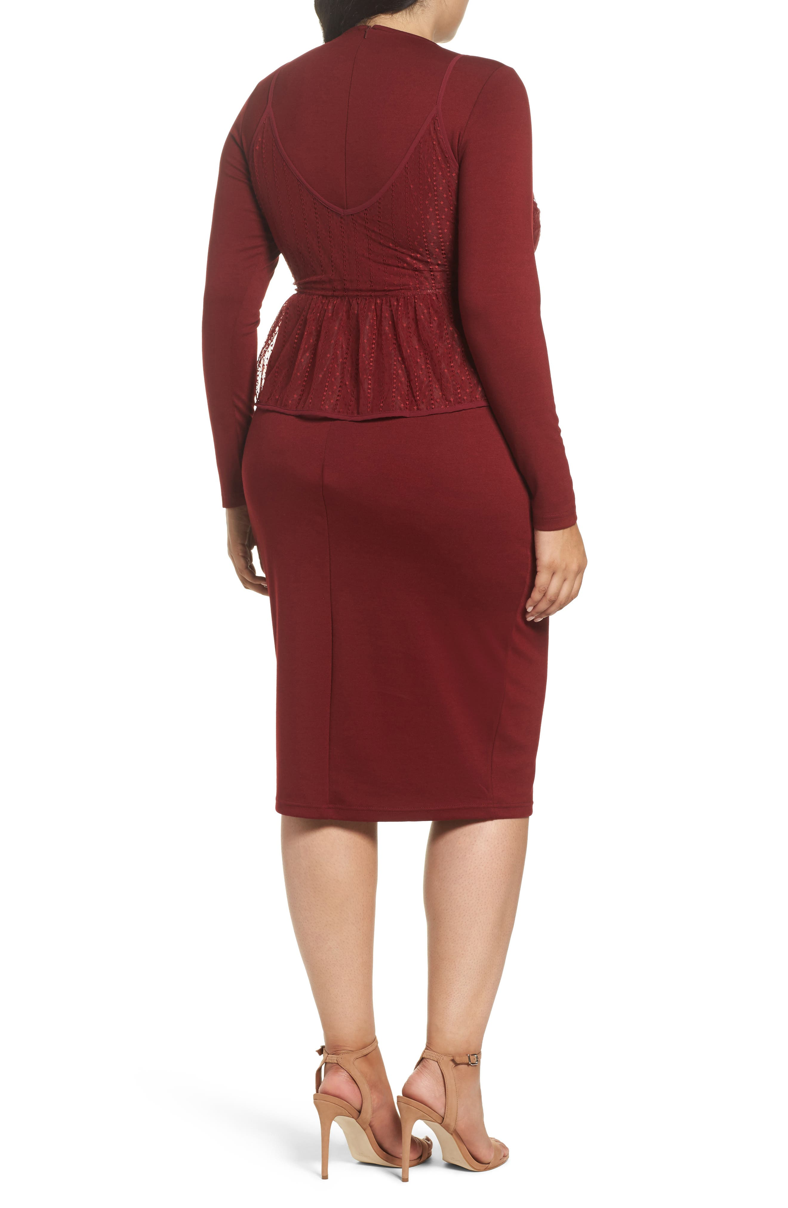 Peplum Overlay Body-Con Dress,                             Alternate thumbnail 3, color,                             Oxblood