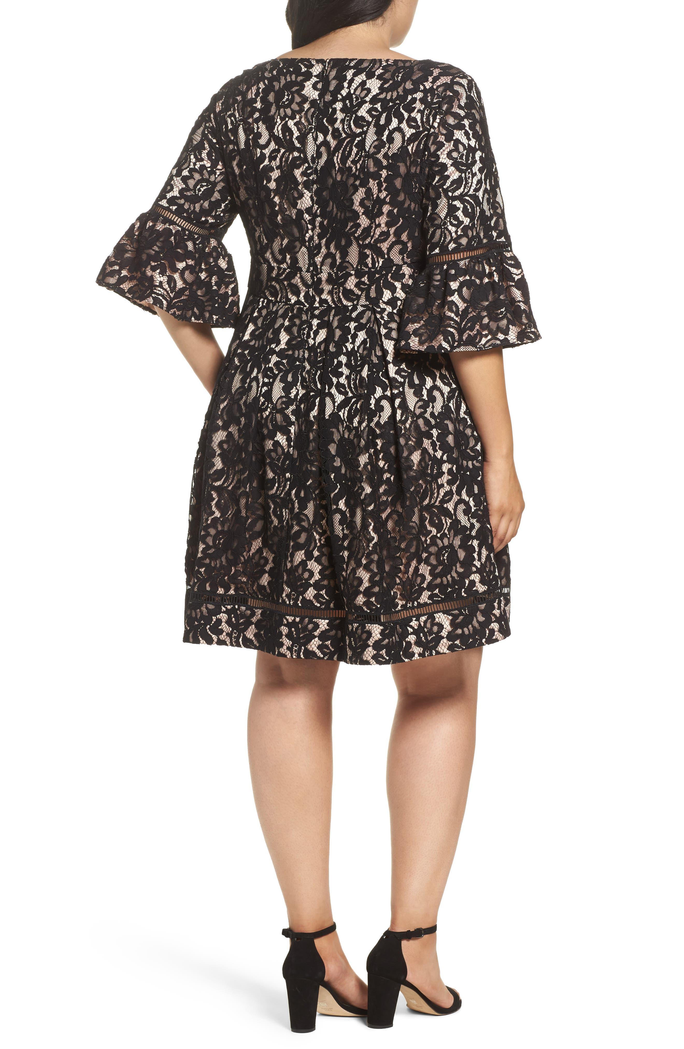 Fit & Flare Lace Dress,                             Alternate thumbnail 2, color,                             Black