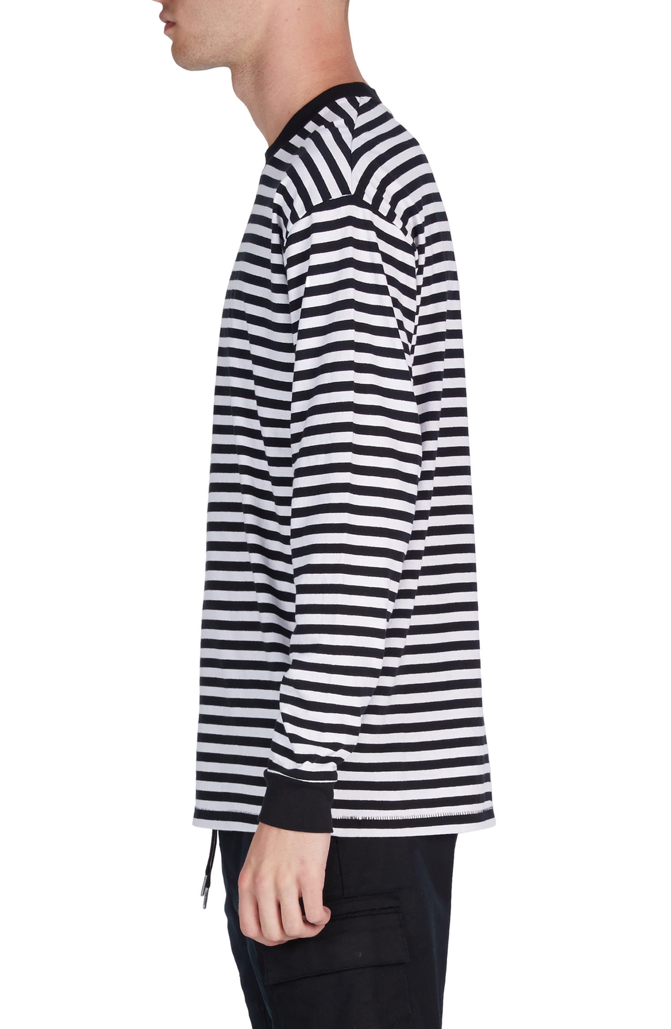 Stripe Box T-Shirt,                             Alternate thumbnail 3, color,                             Black/ White