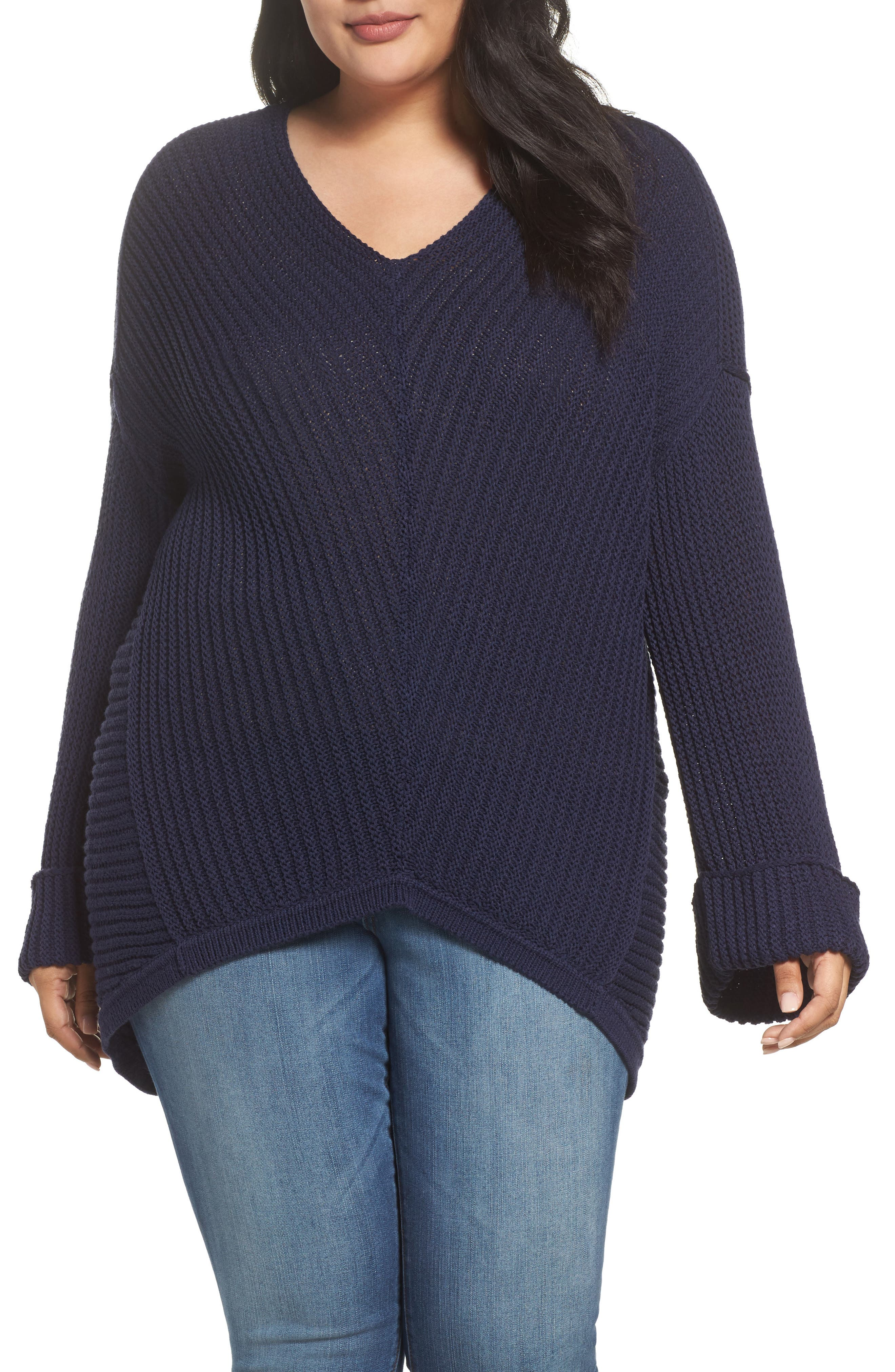 Cuffed Bell Sleeve Sweater,                             Main thumbnail 1, color,                             Navy Peacoat