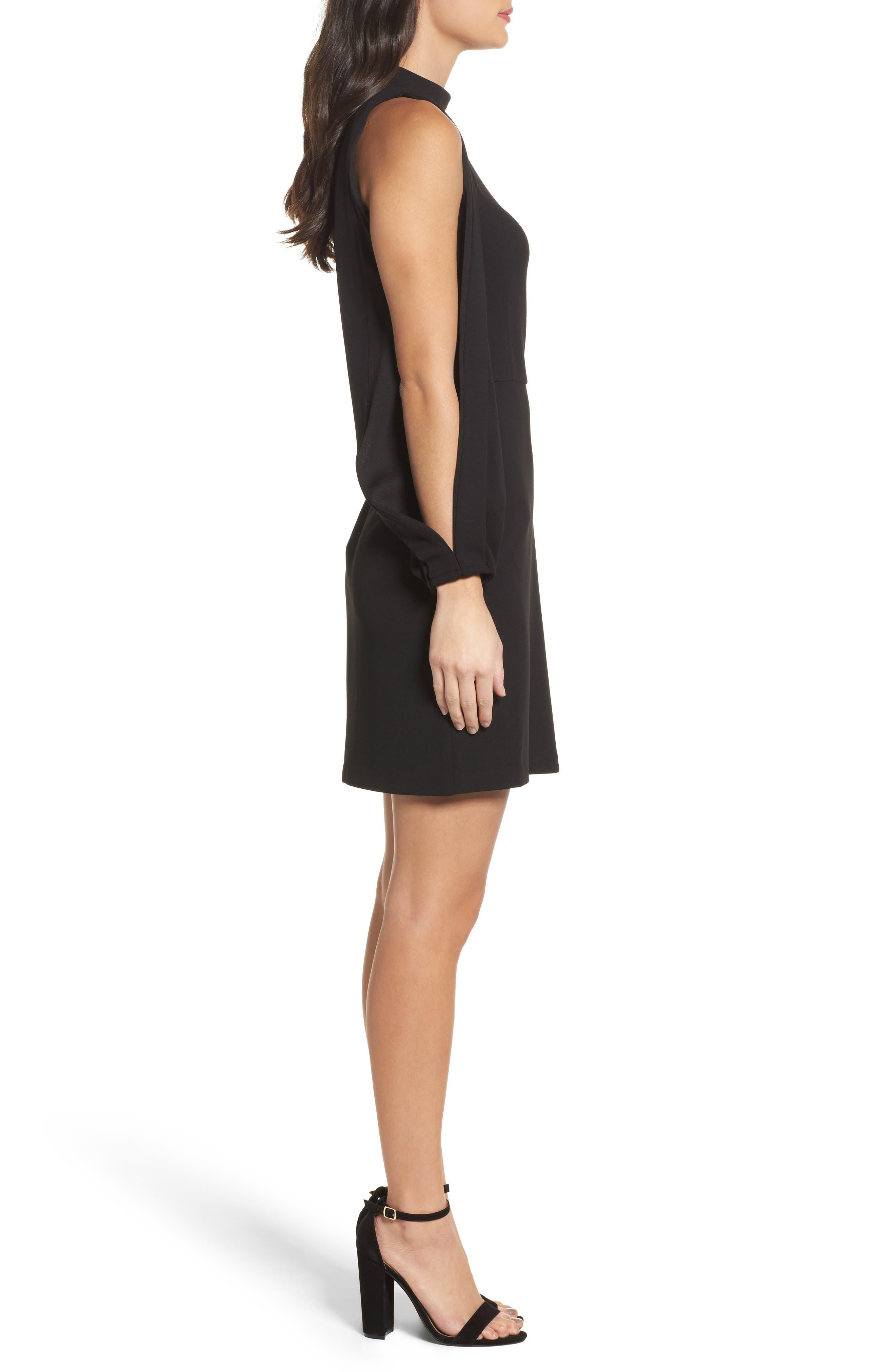 Split Sleeve Shift Dress,                             Alternate thumbnail 3, color,                             Black