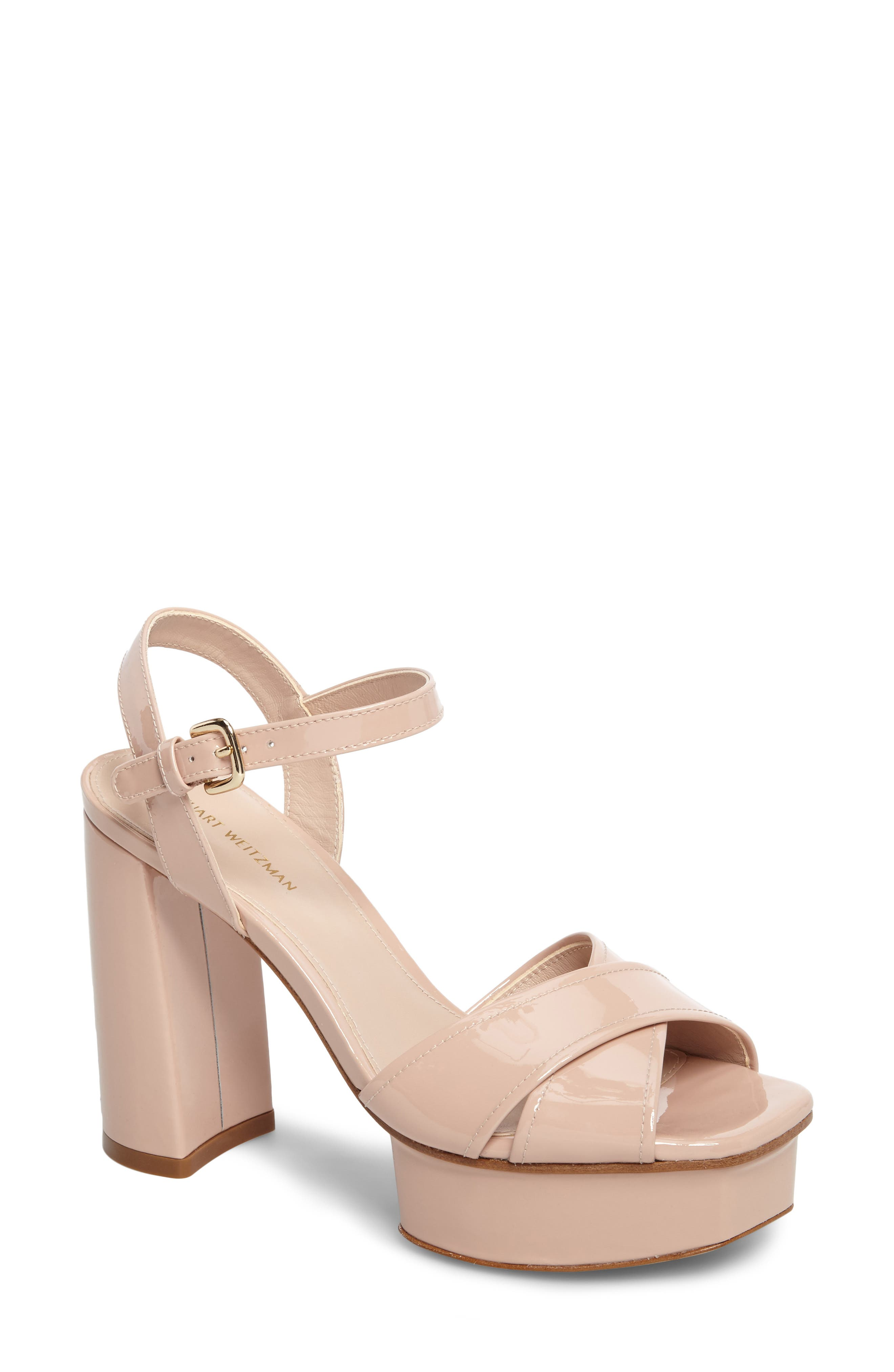 Exposed Platform Sandal,                             Main thumbnail 1, color,                             Face Aniline