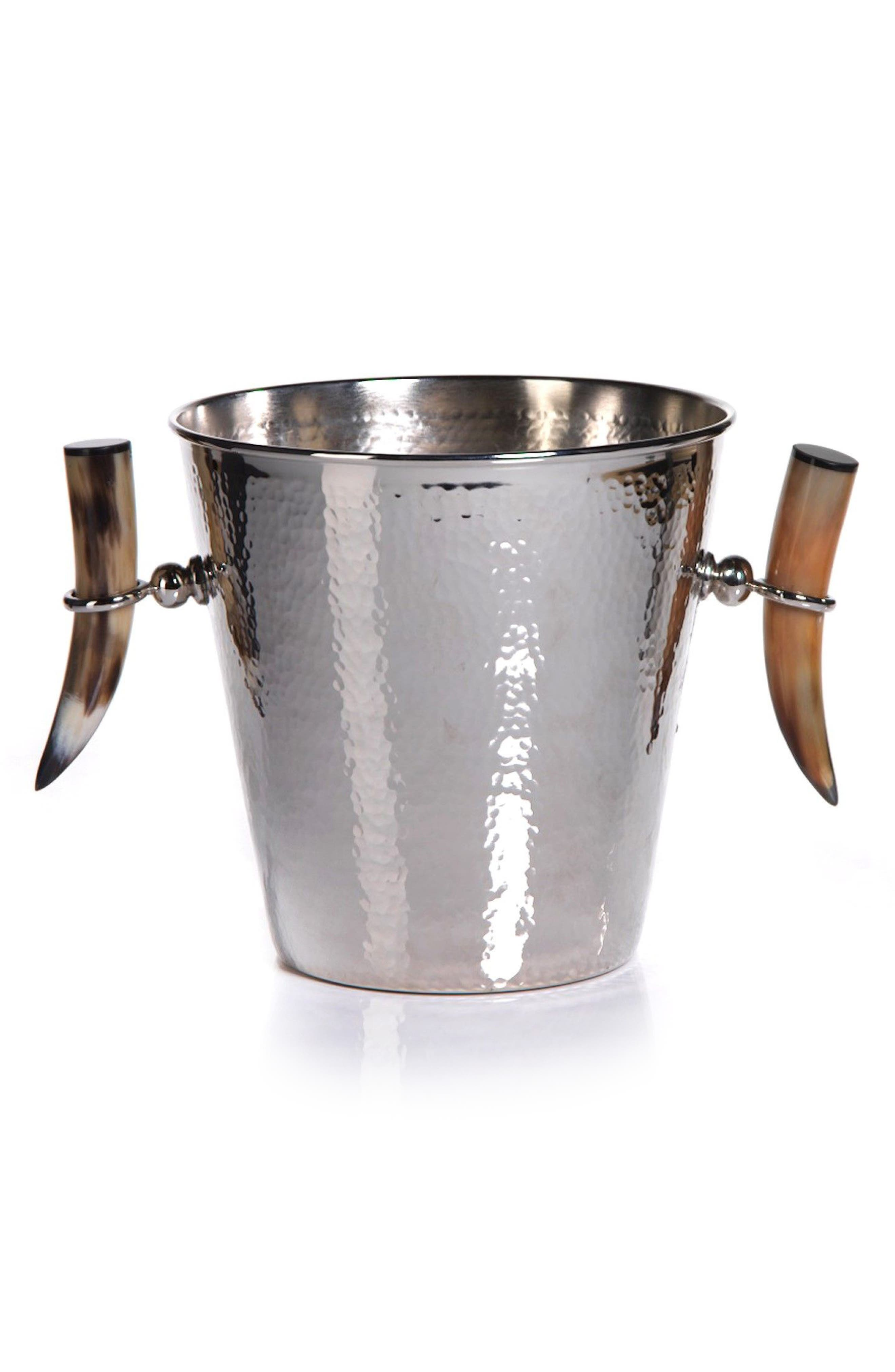 Karima Ice Bucket with Horn Handles,                             Main thumbnail 1, color,                             Silver